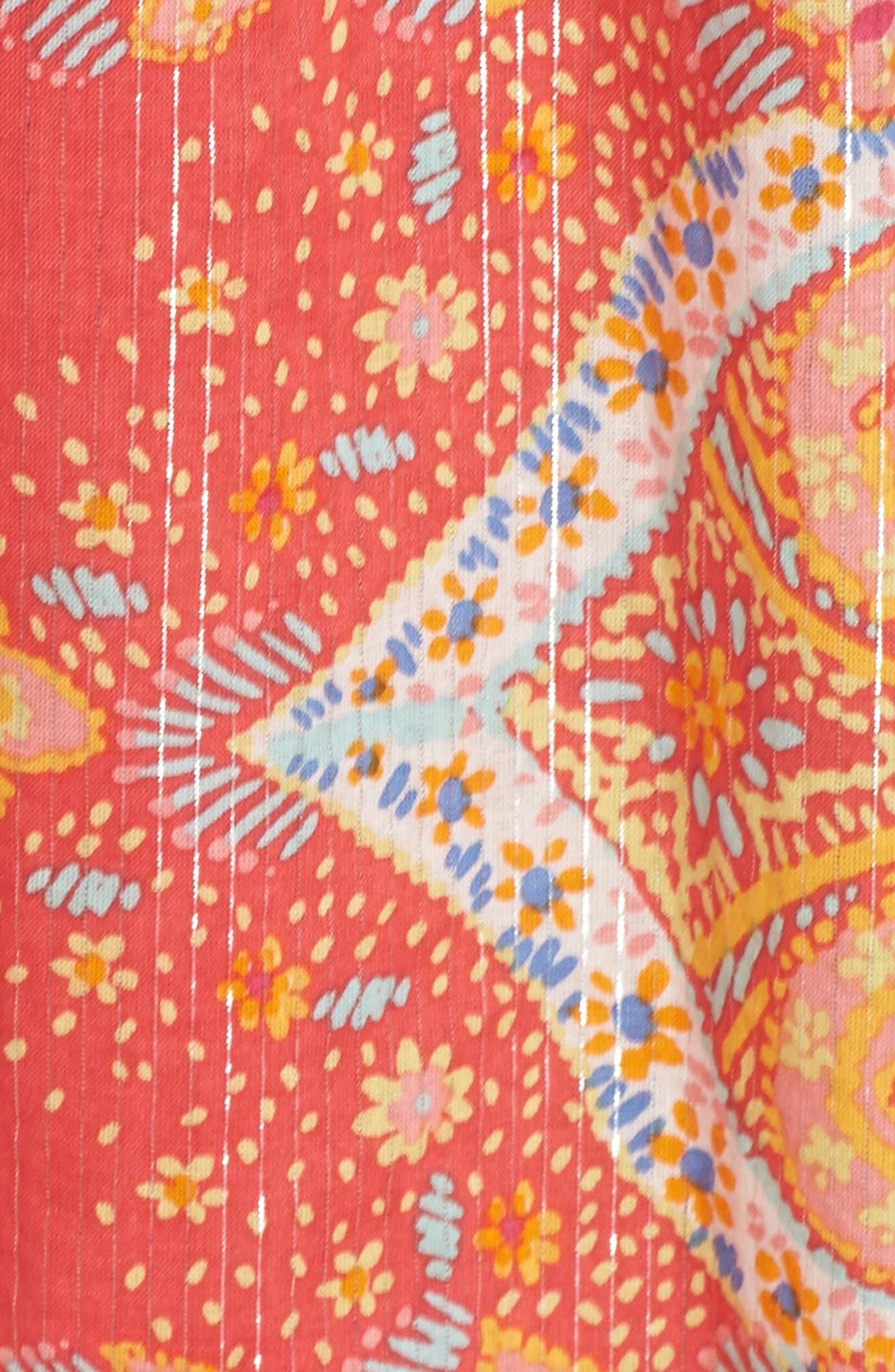 Sea Fan Paisley Cover-Up Caftan,                             Alternate thumbnail 5, color,                             Hibiscus
