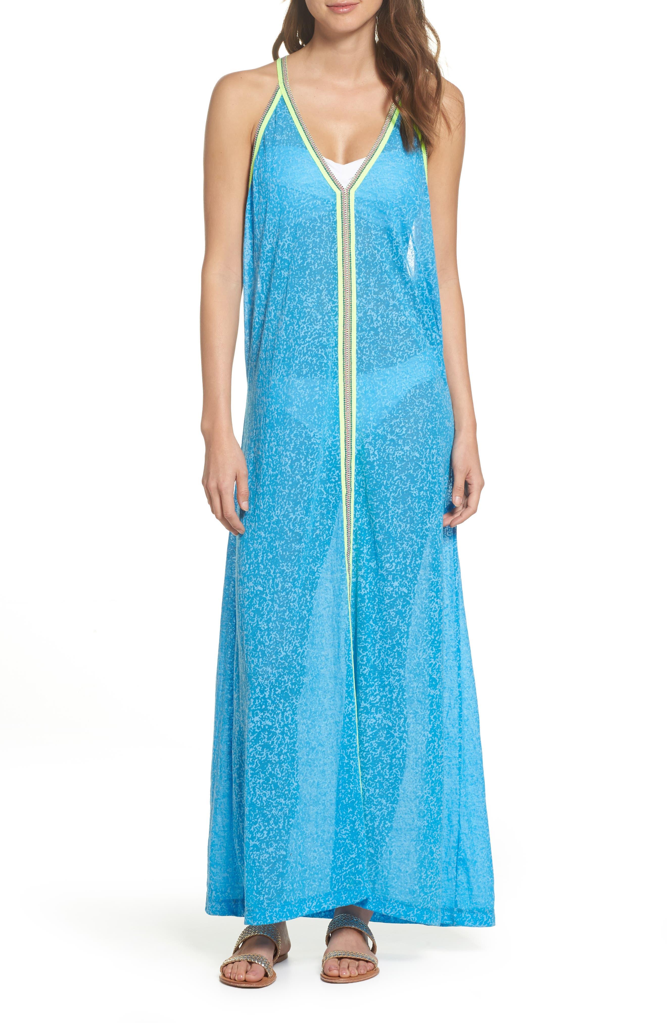 Inca Cover-Up Maxi Sundress,                         Main,                         color, Blue