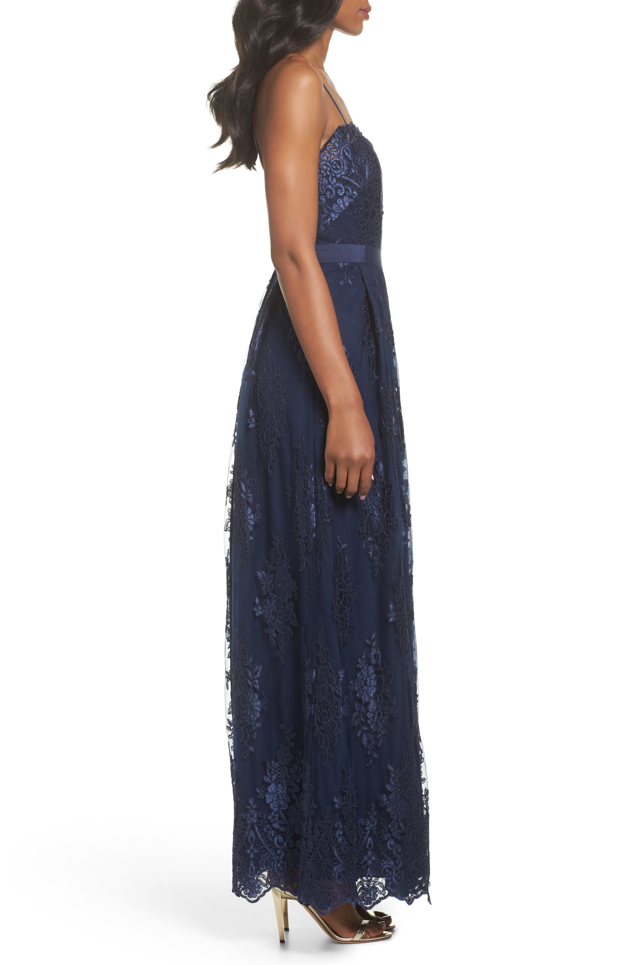 Lace Gown,                             Alternate thumbnail 3, color,                             Navy