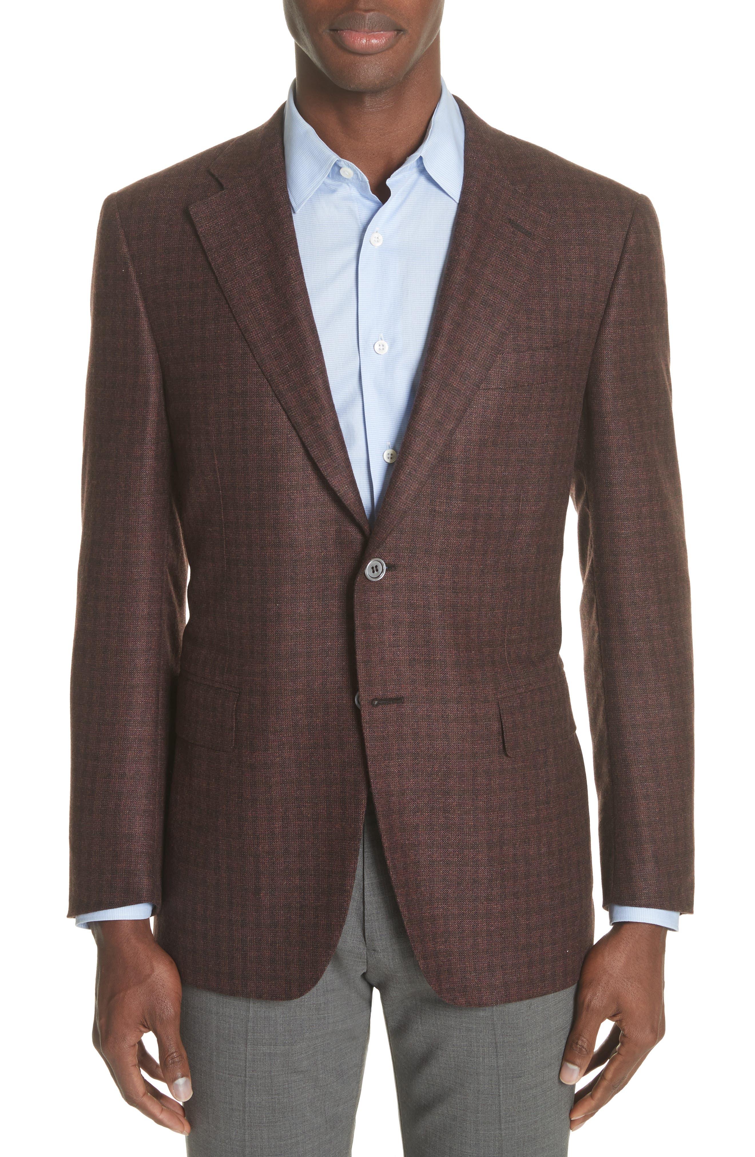 Canali Venezia Classic Fit Check Cashmere & Silk Sport Coat