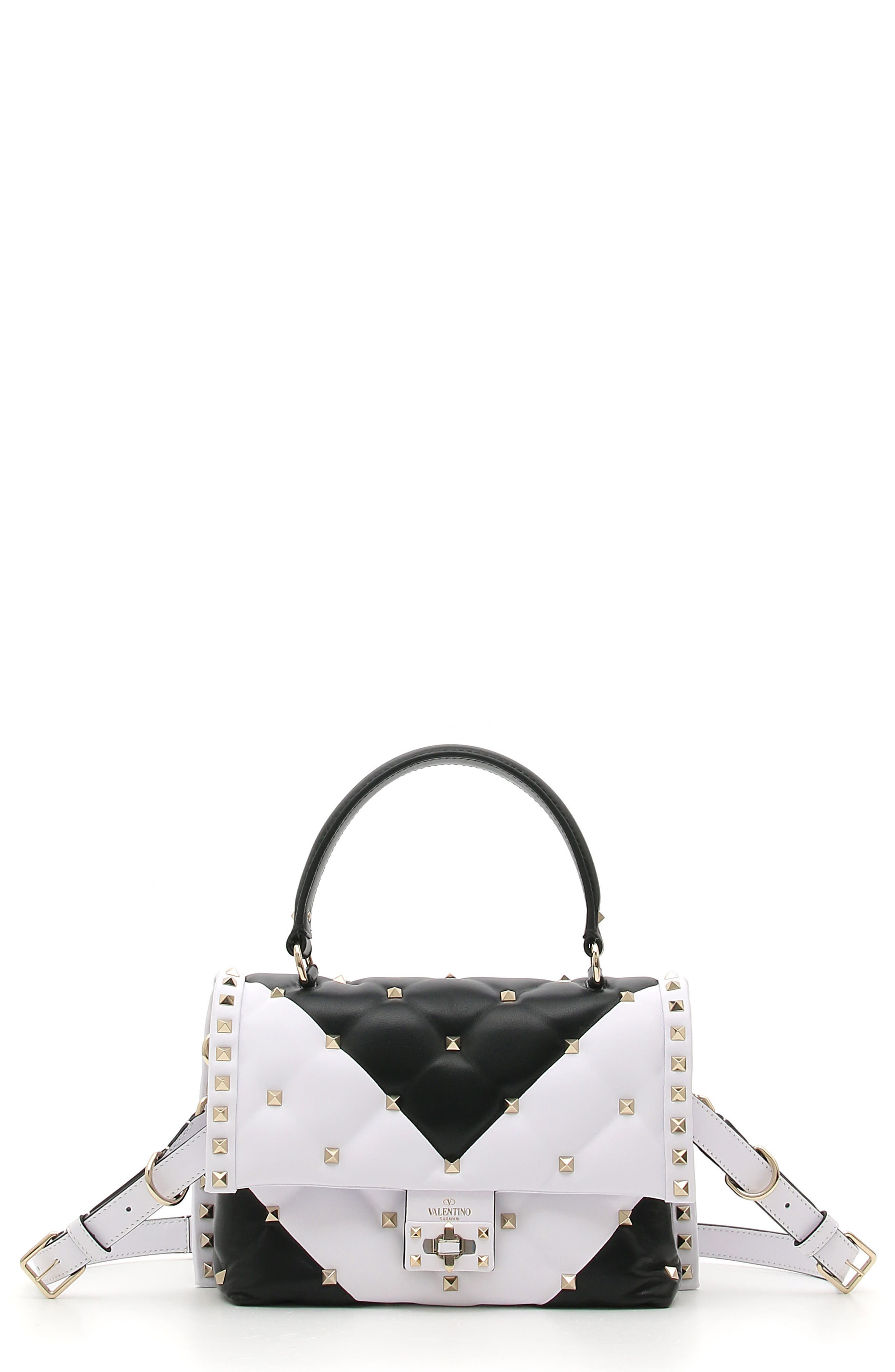 Bicolor Candystud Lambskin Top Handle Satchel,                         Main,                         color, White