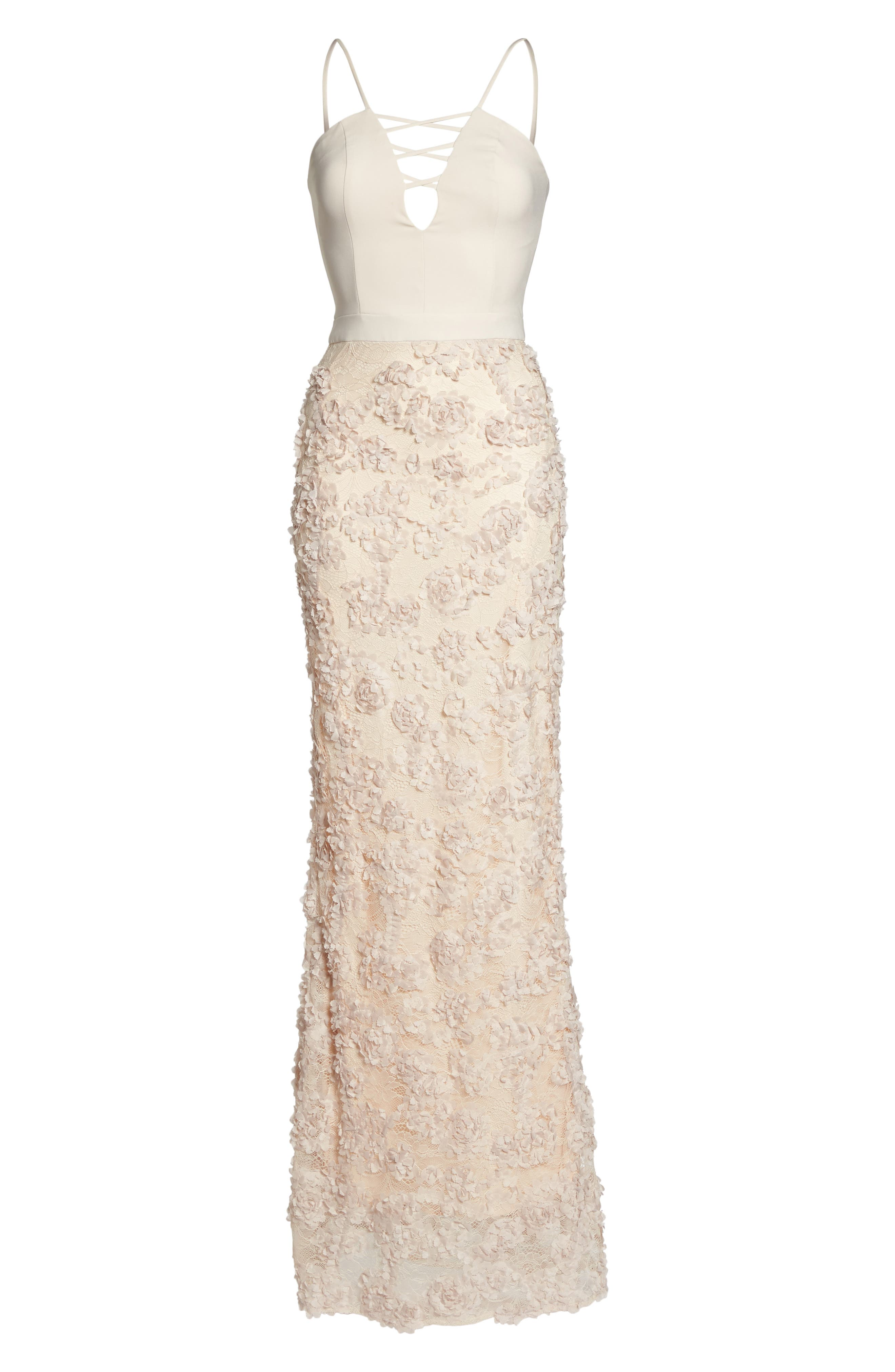 Jessie Strappy Lace Sheath Gown,                             Alternate thumbnail 6, color,                             Champagne