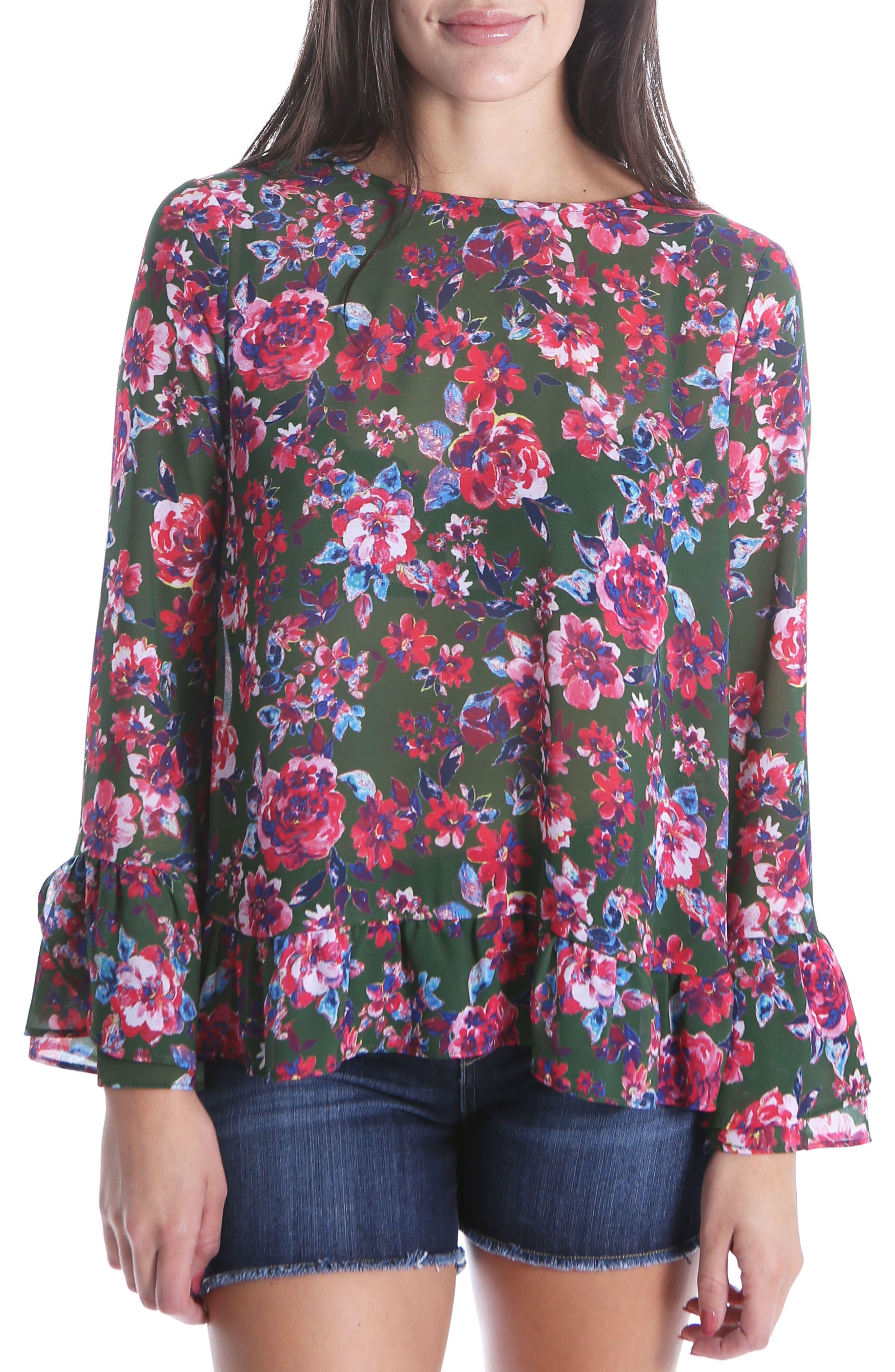 Trixy Ruffle Sleeve Floral Top,                             Main thumbnail 1, color,                             Pine