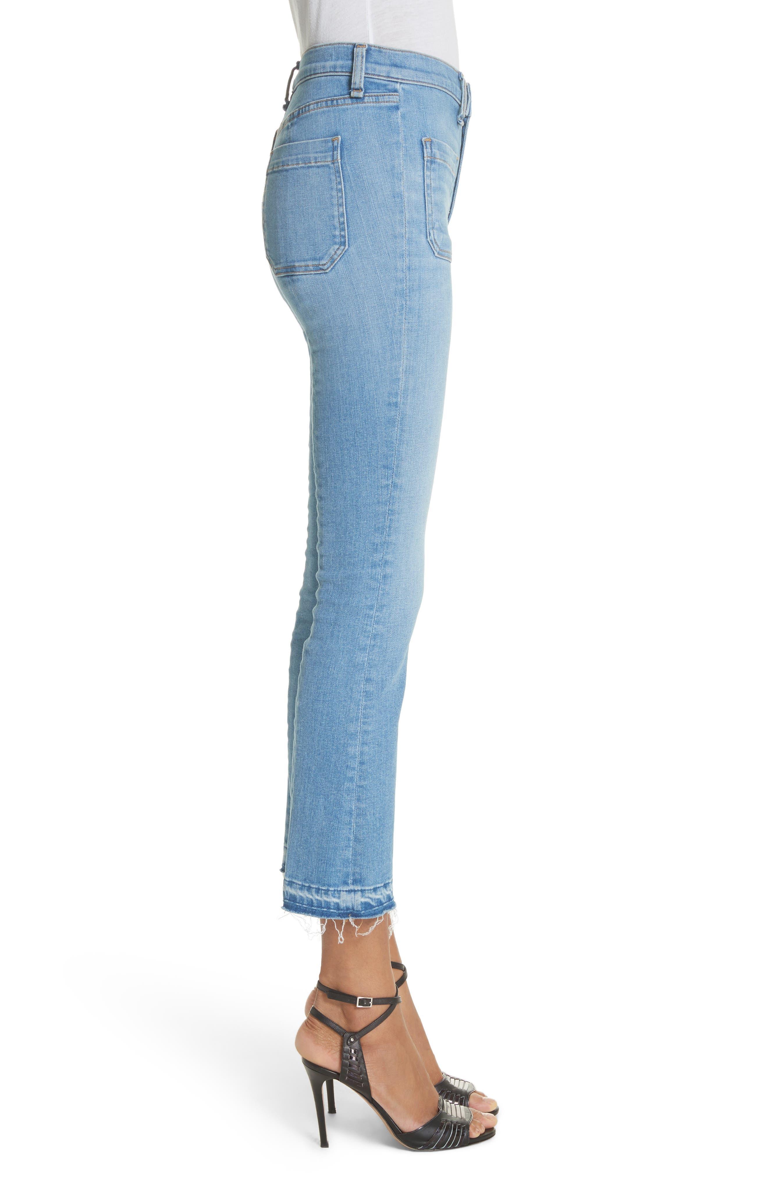Carolyn Crop Baby Boot Jeans,                             Alternate thumbnail 3, color,                             Ocean Blue