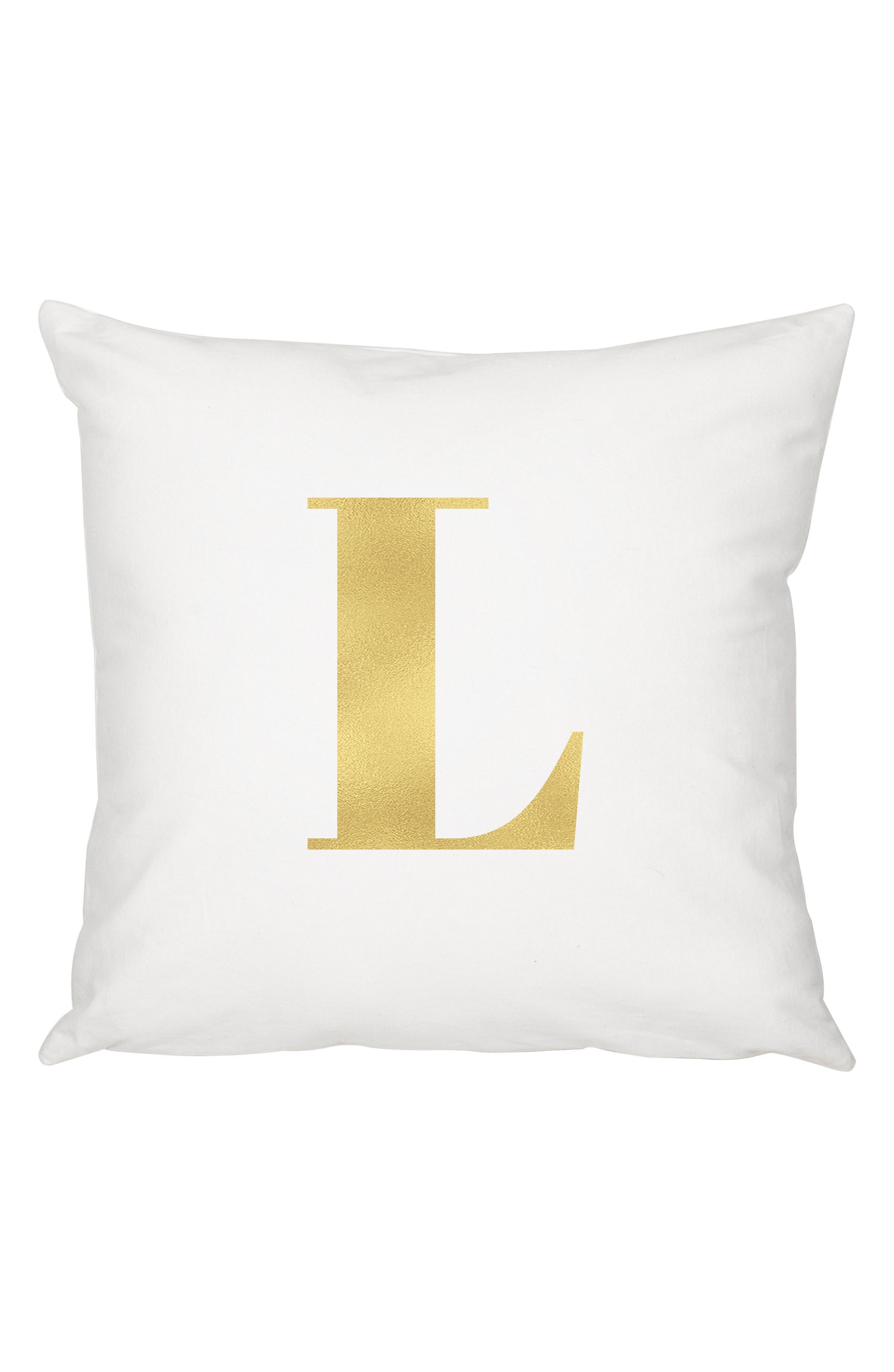 Monogram Accent Pillow,                         Main,                         color, Gold-L