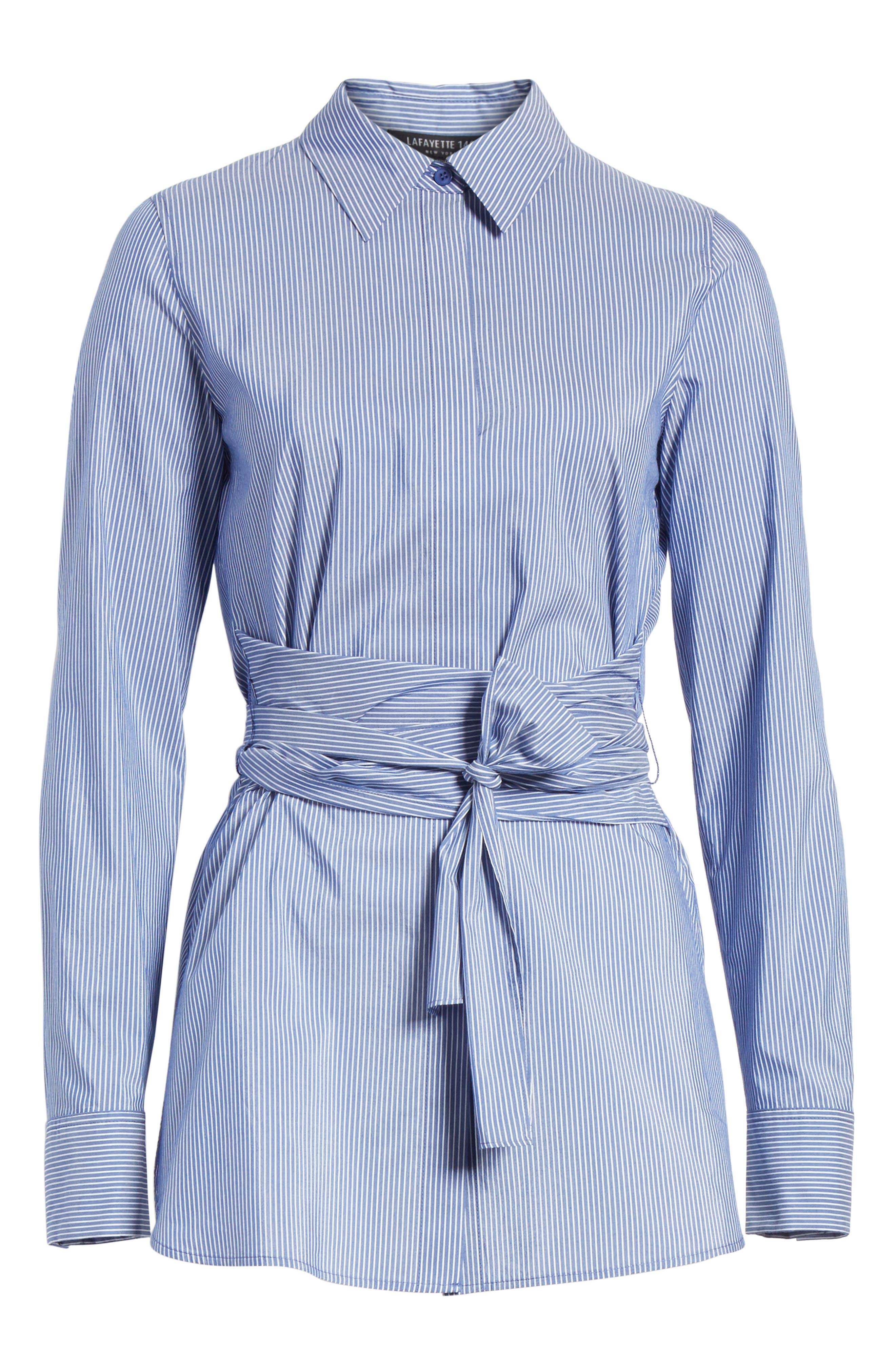 Cordelia Tie Waist Blouse,                             Alternate thumbnail 6, color,                             Delft Multi