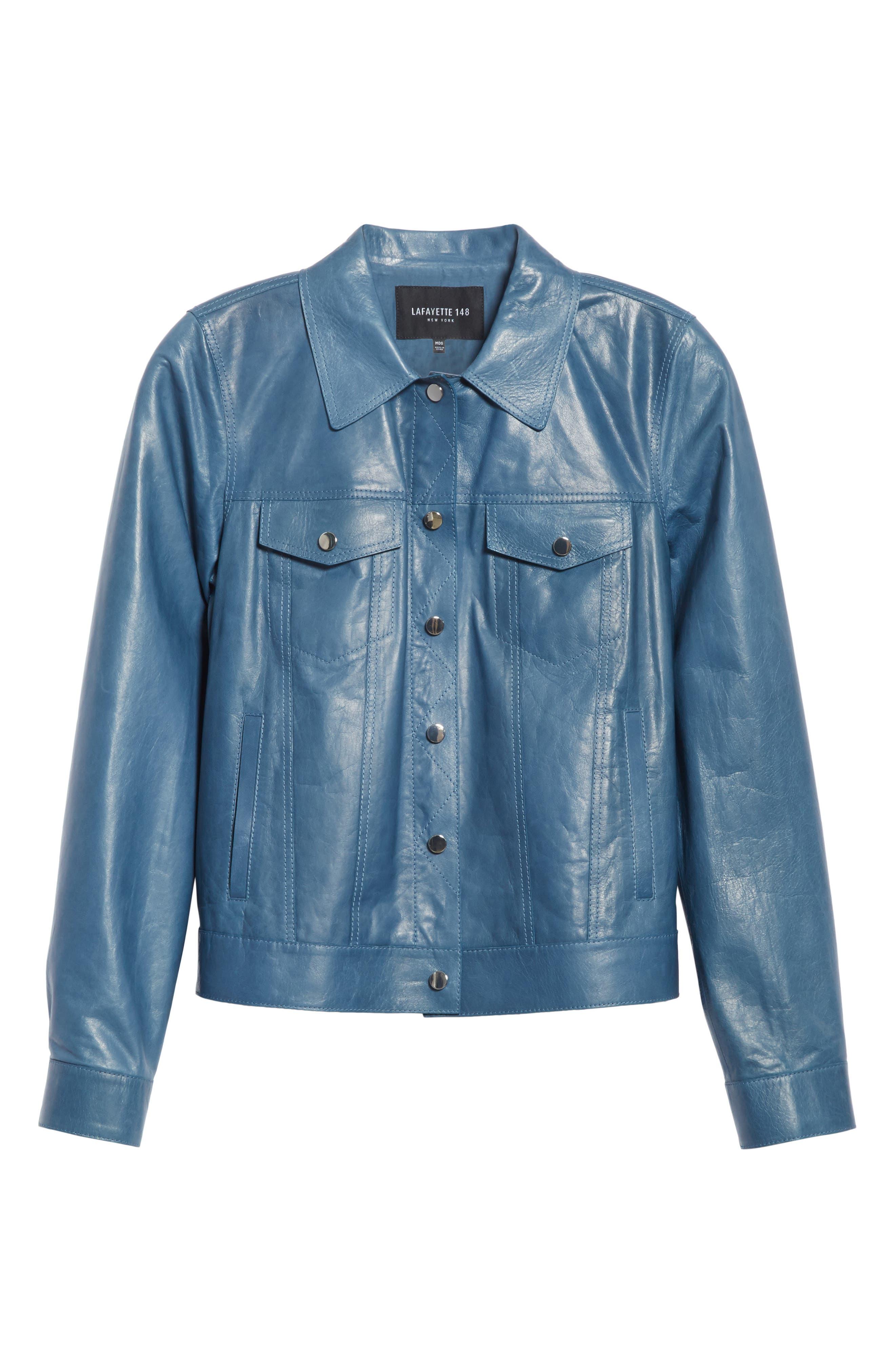 Destiny Leather Jacket,                             Alternate thumbnail 7, color,                             Placid Blue