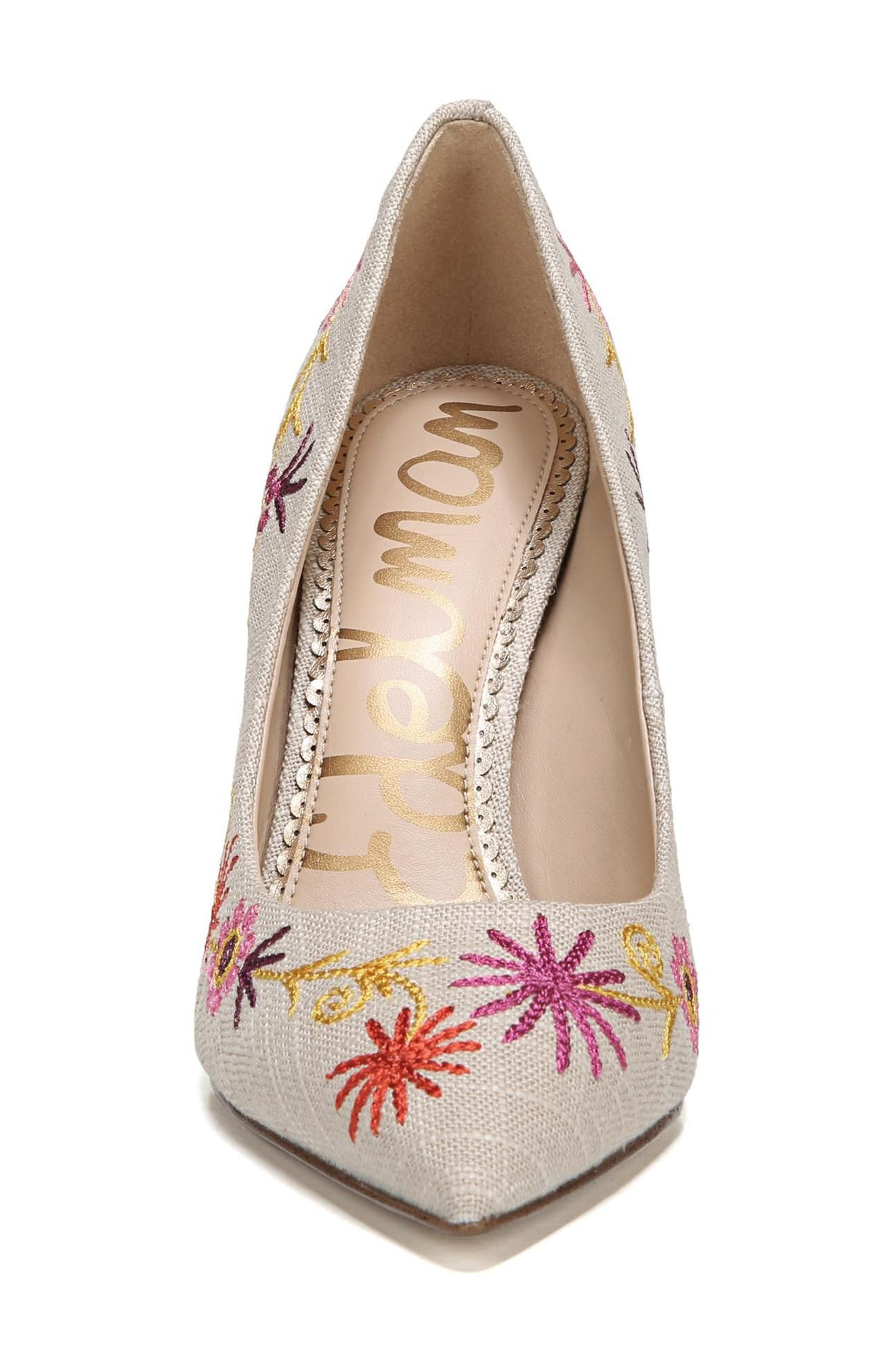 Hazel Pointy Toe Pump,                             Alternate thumbnail 4, color,                             Yellow Embroidery Suede