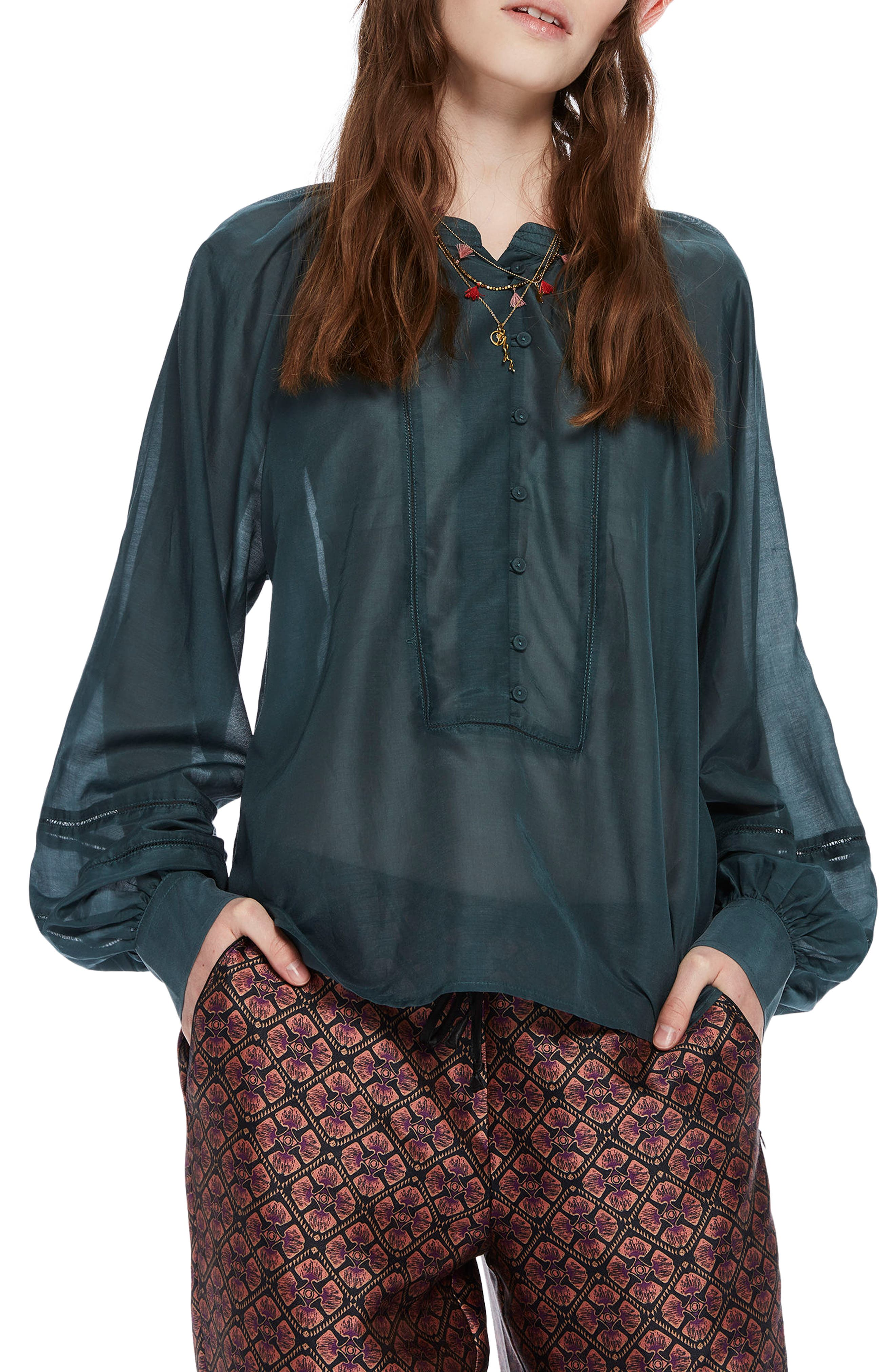 Puff Sleeve Blouse,                         Main,                         color, Petrol Green