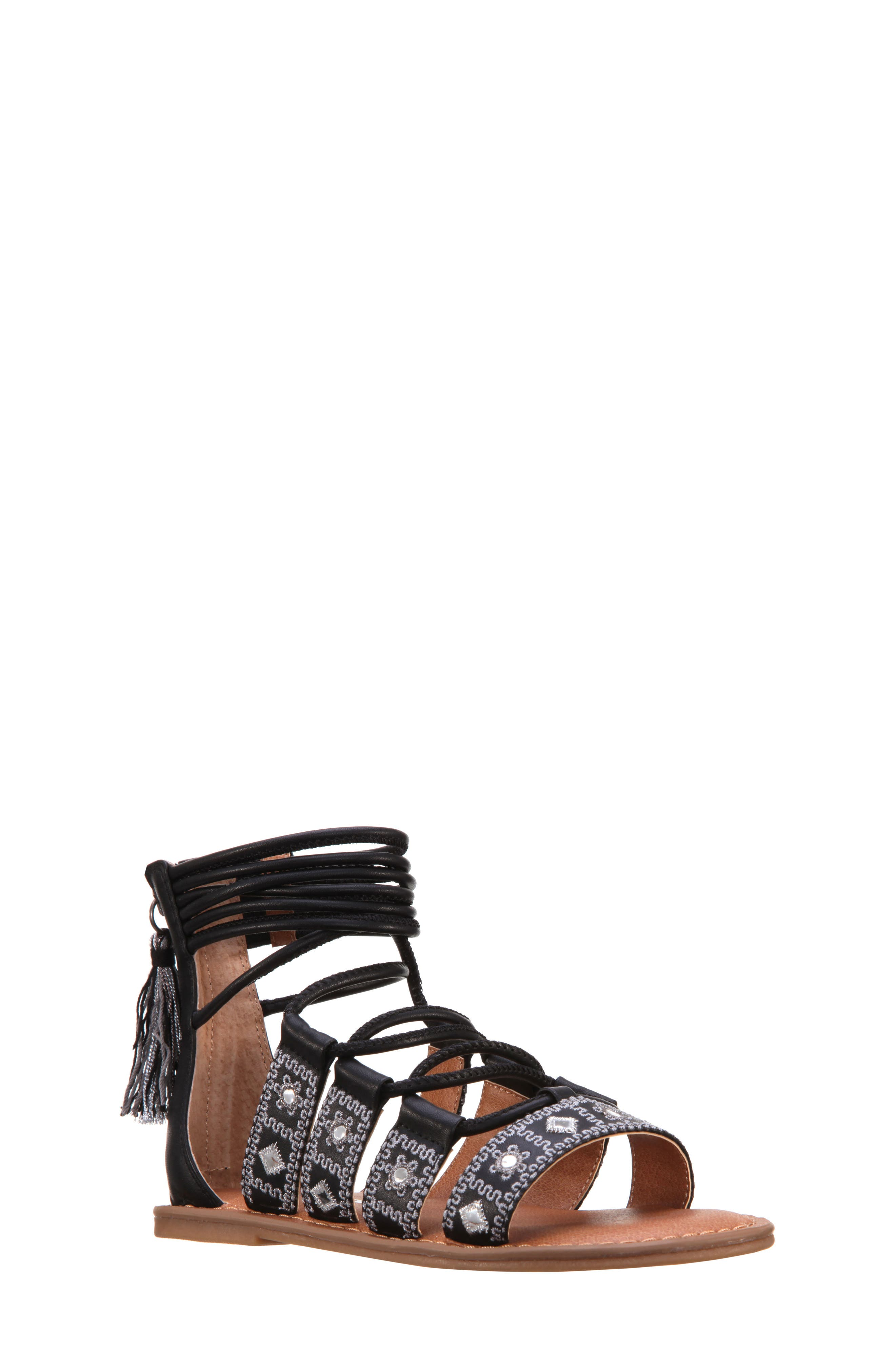 Sherryll Embellished Gladiator Sandal,                             Main thumbnail 1, color,                             Black Smooth