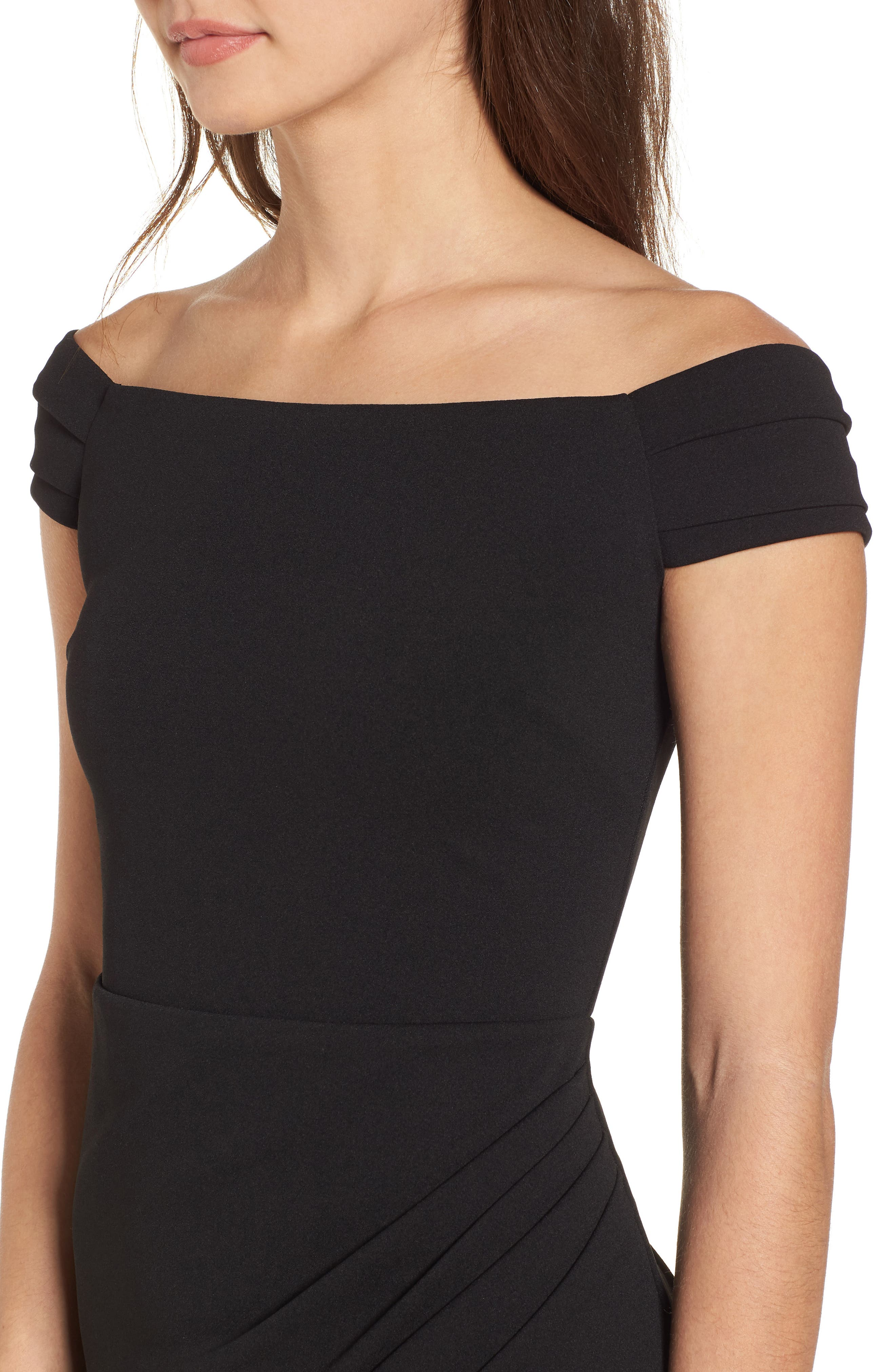 Off the Shoulder Body-Con Dress,                             Alternate thumbnail 4, color,                             Black