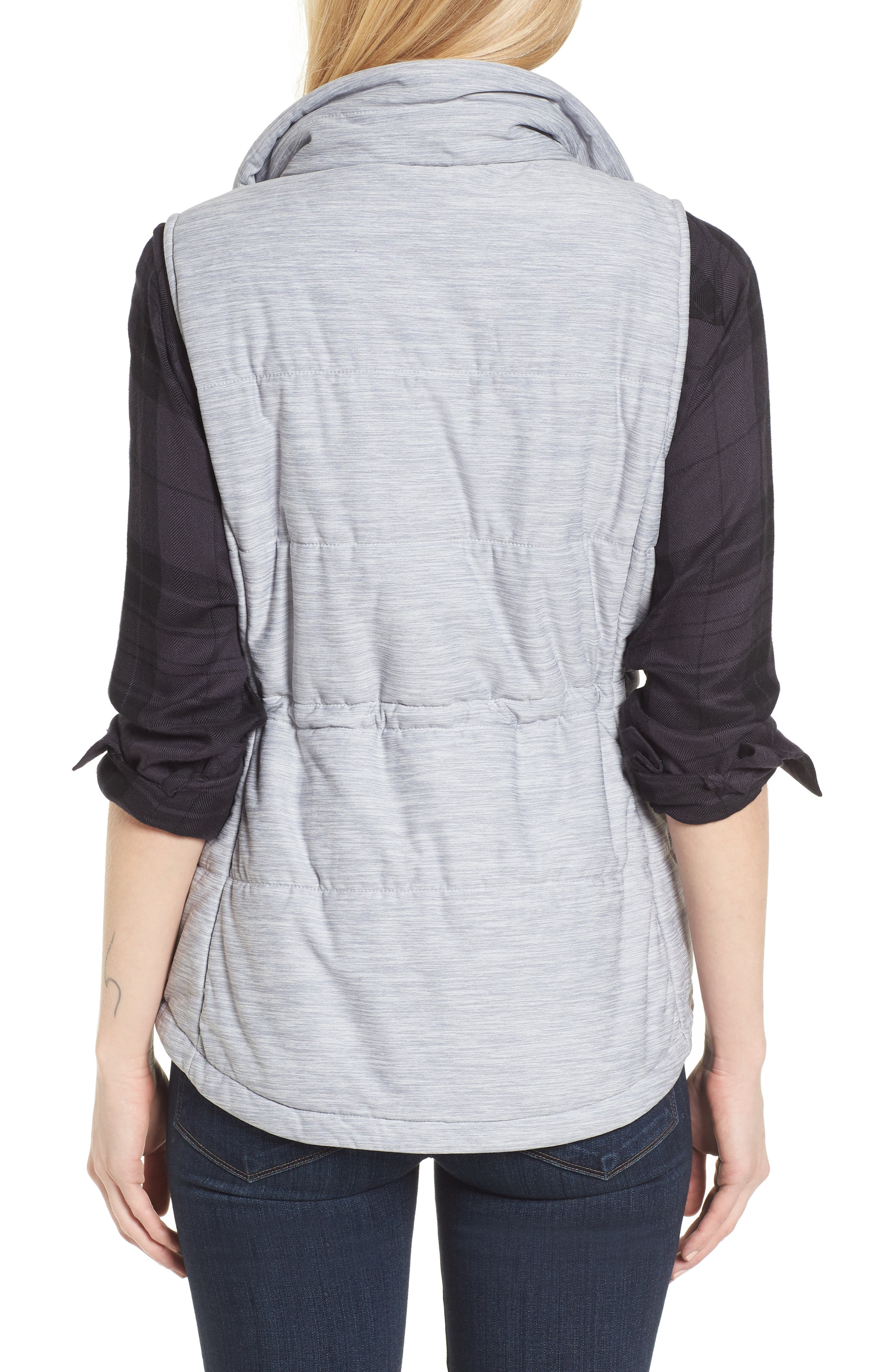'Pseudio' Quilted Vest,                             Alternate thumbnail 3, color,                             Light Grey Heather