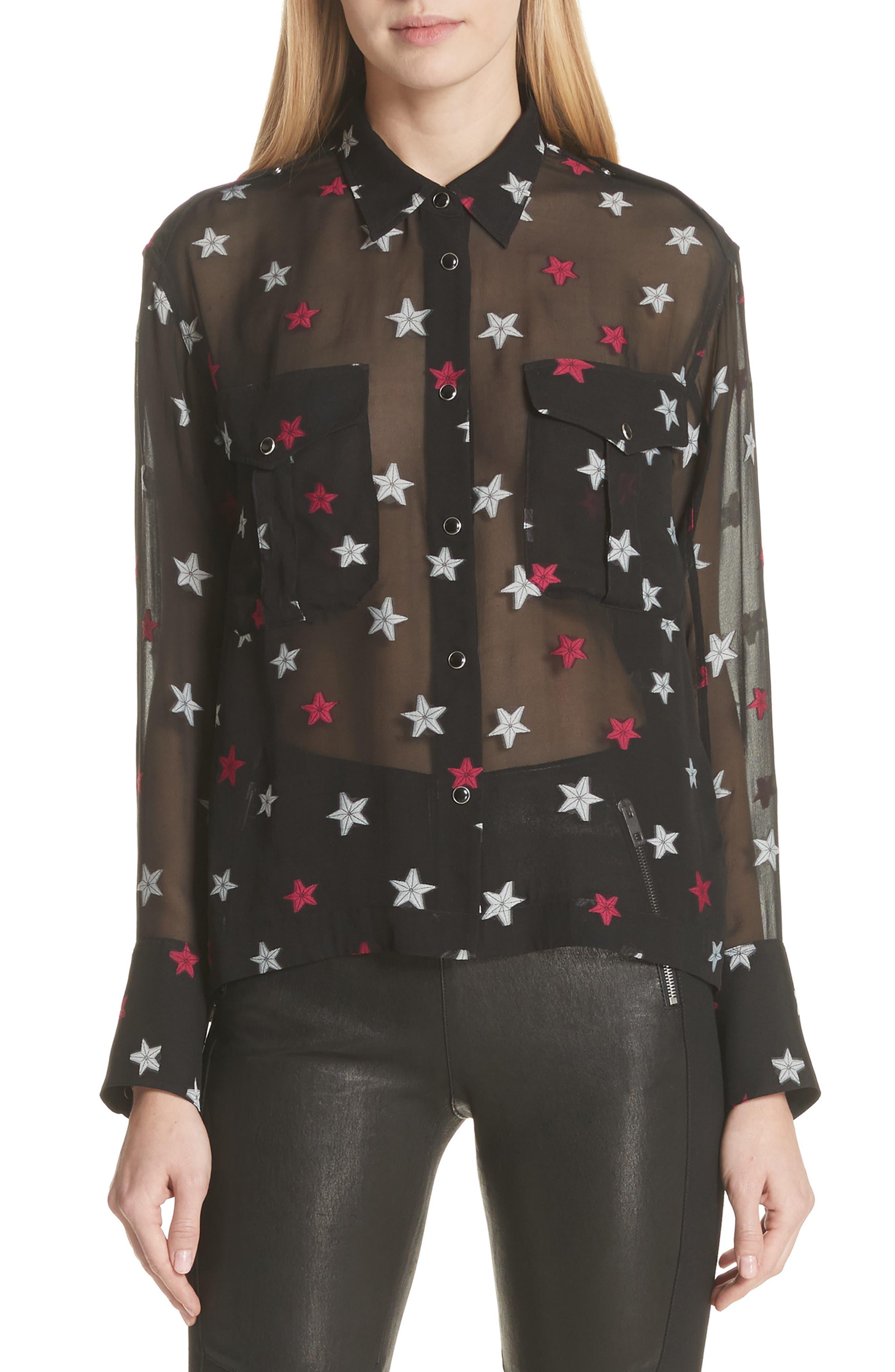 Pearson Star Print Silk Blend Shirt,                             Main thumbnail 1, color,                             Black Multi