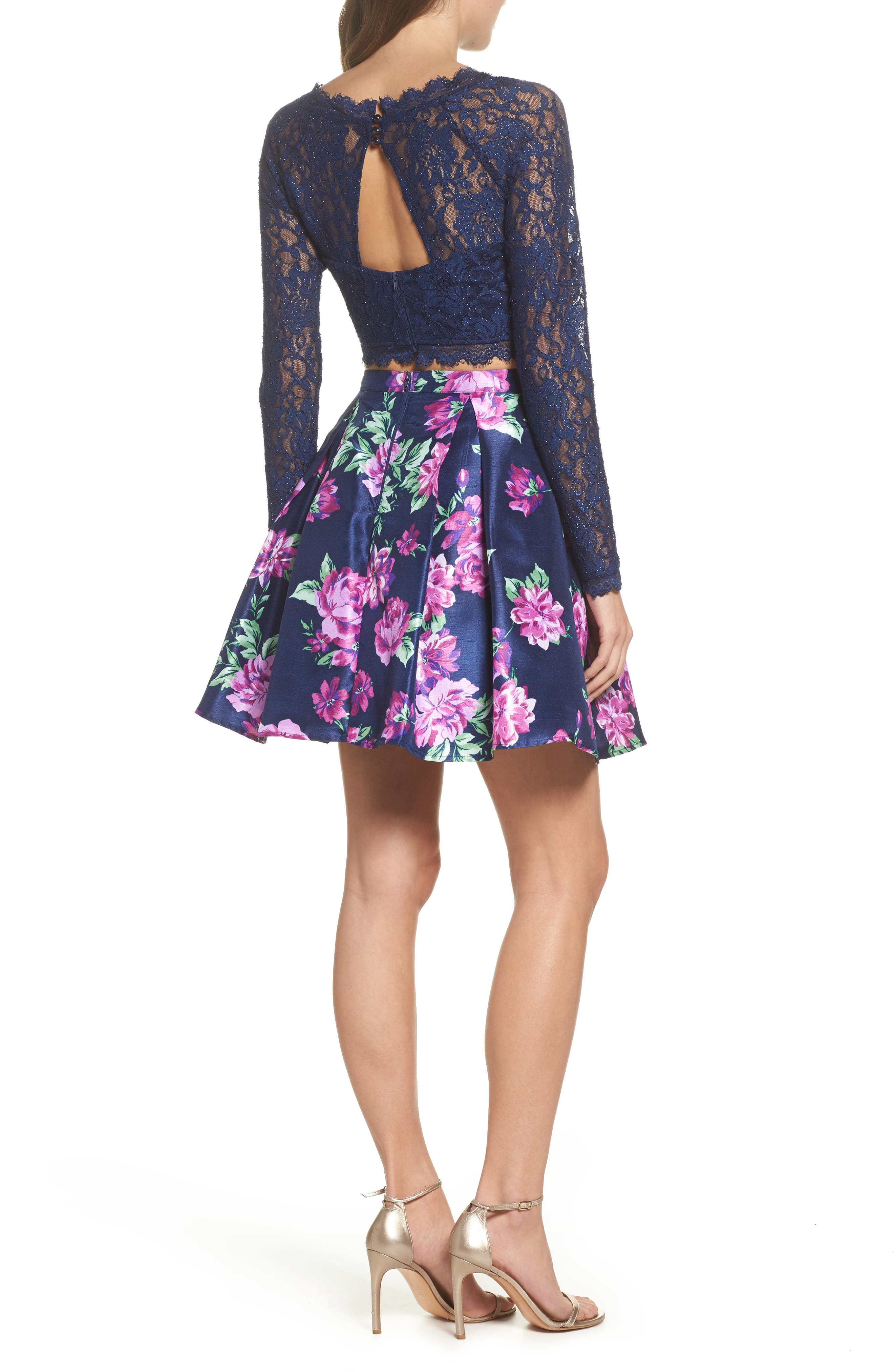 Glitter Lace Two-Piece Dress,                             Alternate thumbnail 2, color,                             Navy/ Violet
