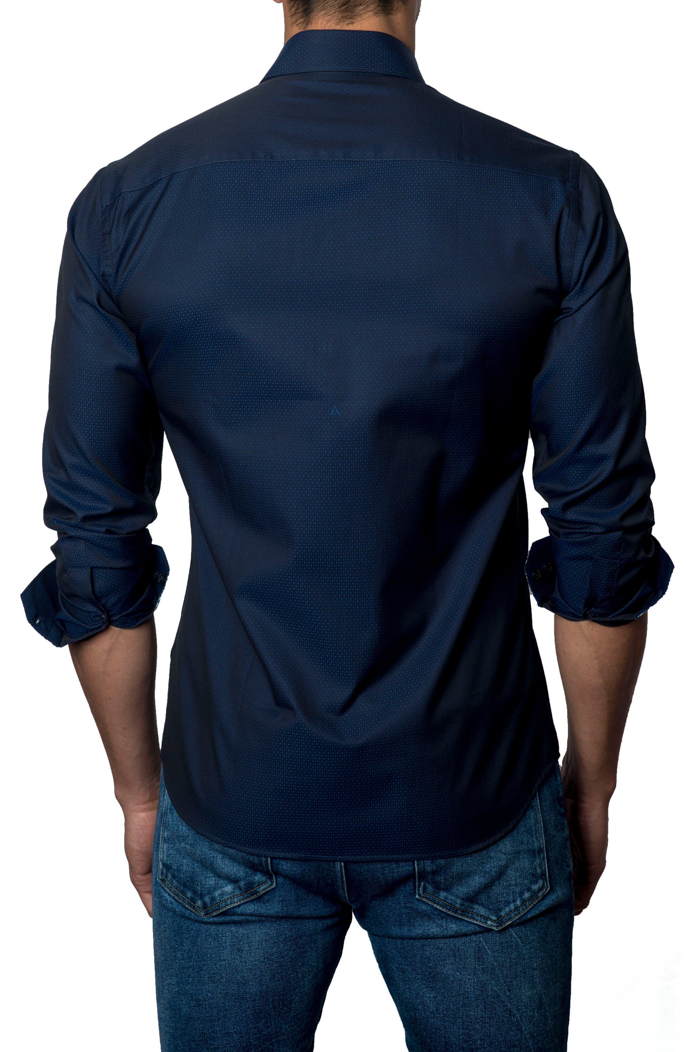 Trim Fit Woven Sport Shirt,                             Alternate thumbnail 2, color,                             Navy