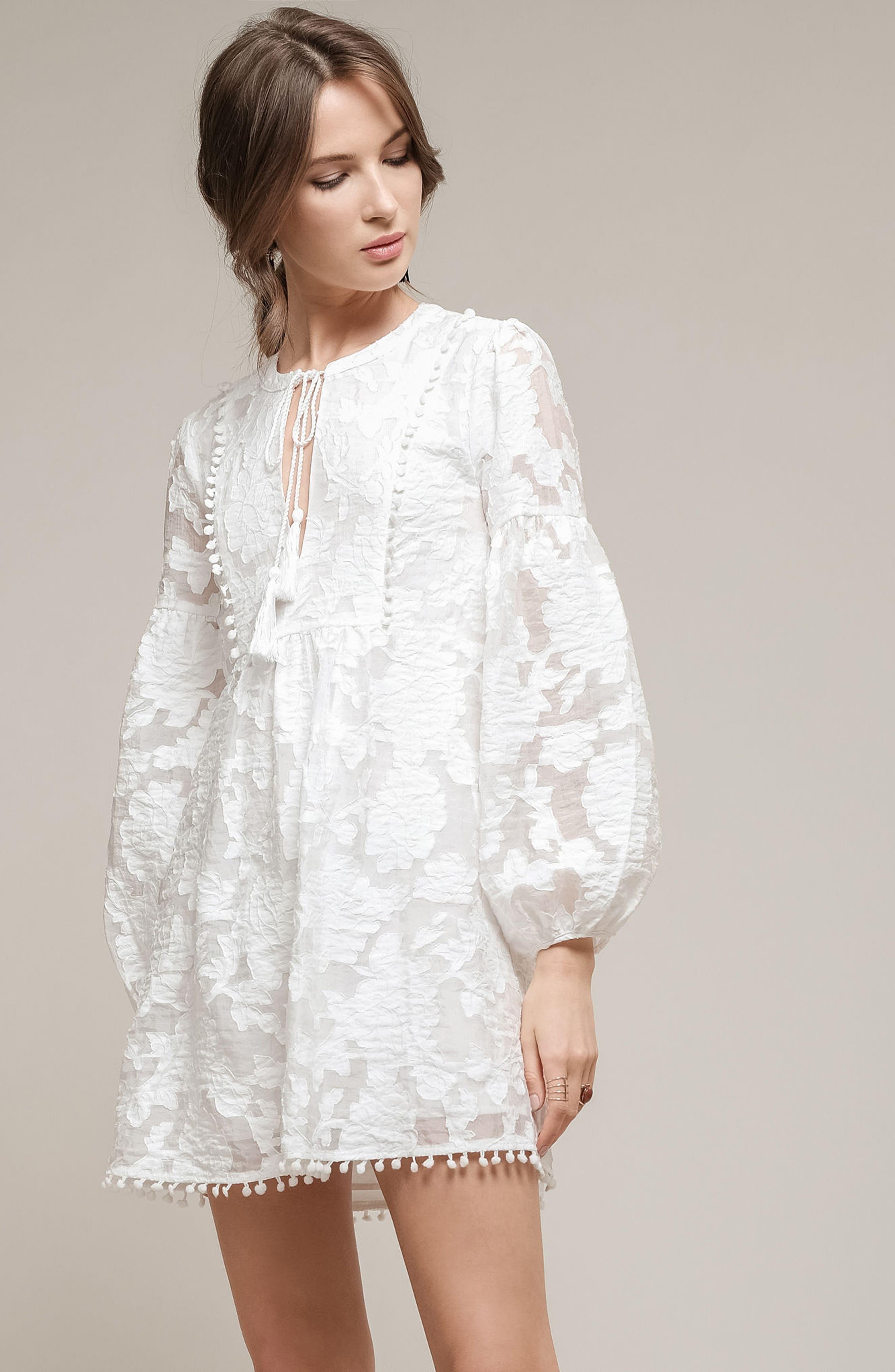 Floral Burnout Dress,                             Alternate thumbnail 2, color,                             White