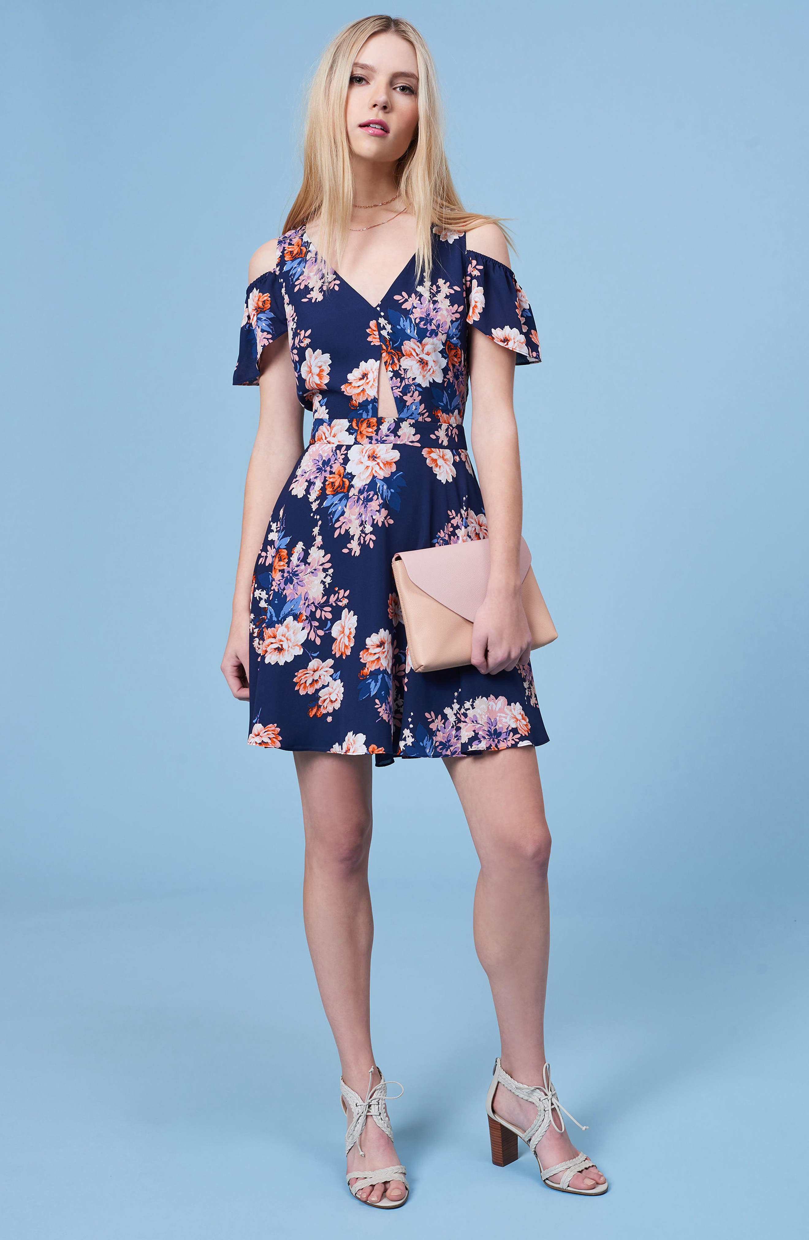 Chasing Butterflies Cold Shoulder Fit & Flare Dress,                             Alternate thumbnail 2, color,                             Navy Floral