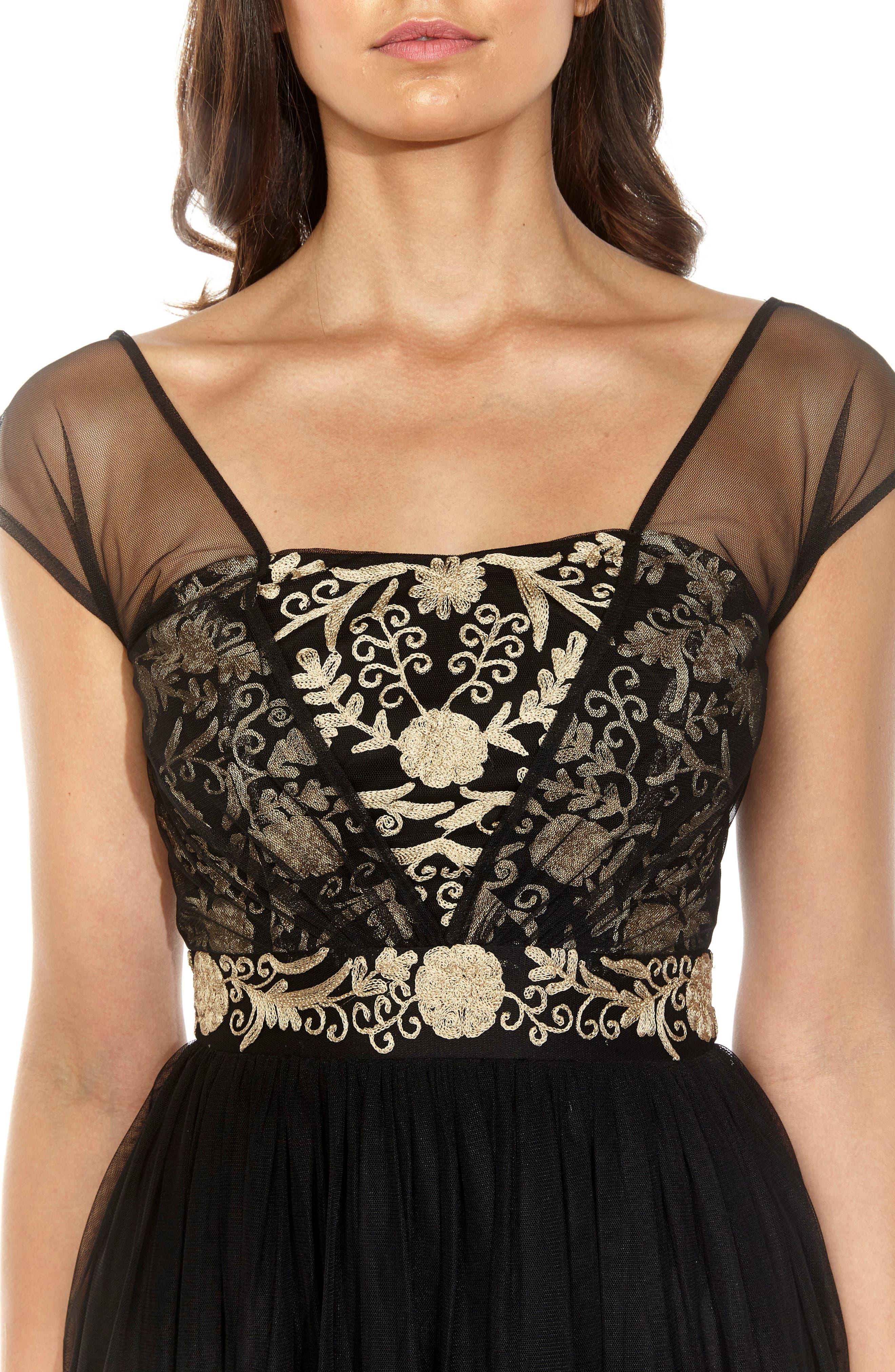 Embroidered Mesh Skater Dress,                             Alternate thumbnail 4, color,                             Black
