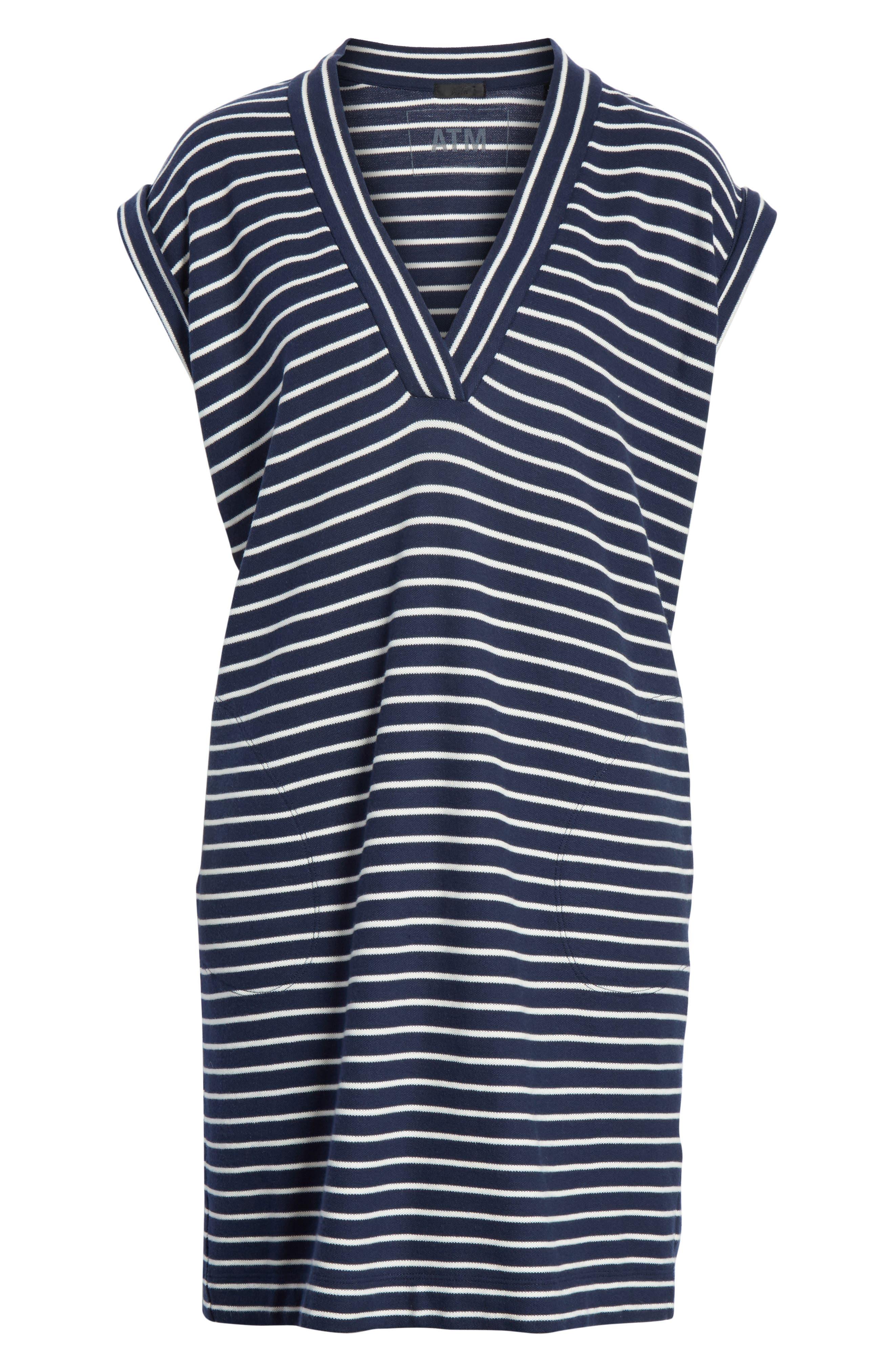 Stripe Shift Dress,                             Alternate thumbnail 6, color,                             Navy/ Chalk Stripe