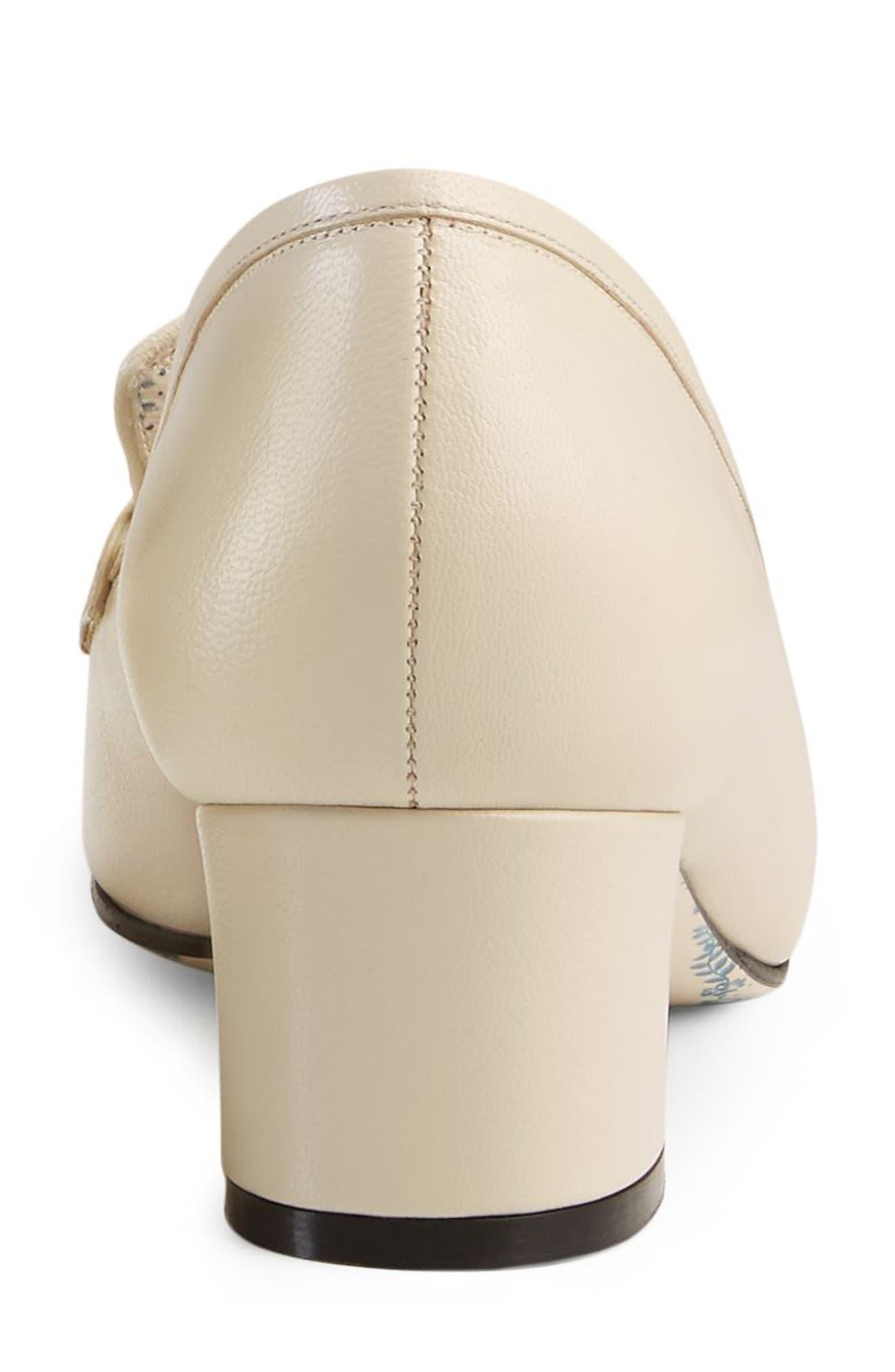 Ginger Crystal Embellished Loafer Pump,                             Alternate thumbnail 4, color,                             Ivory