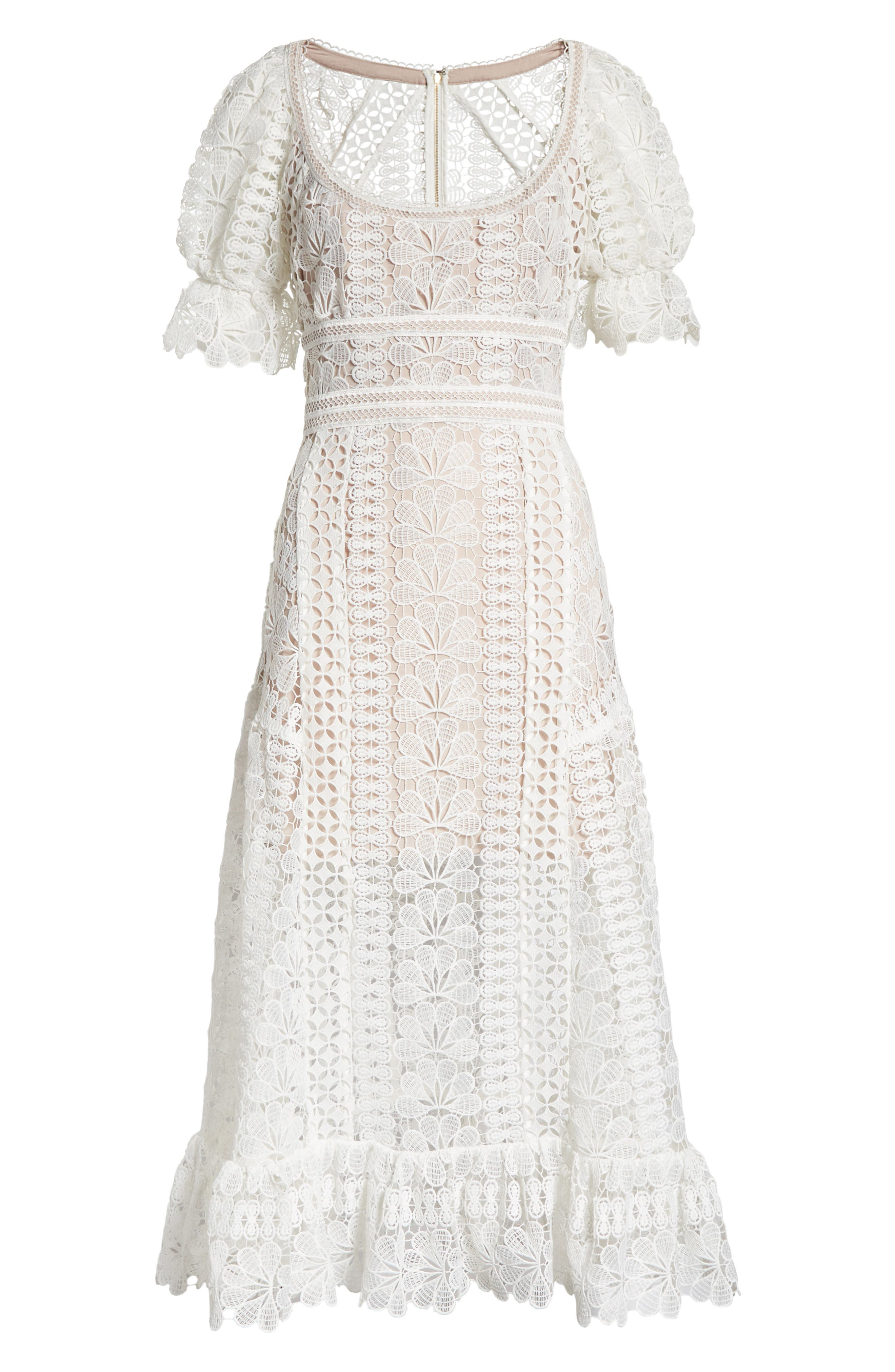 Floral Guipure Lace Midi Dress,                             Alternate thumbnail 6, color,                             White
