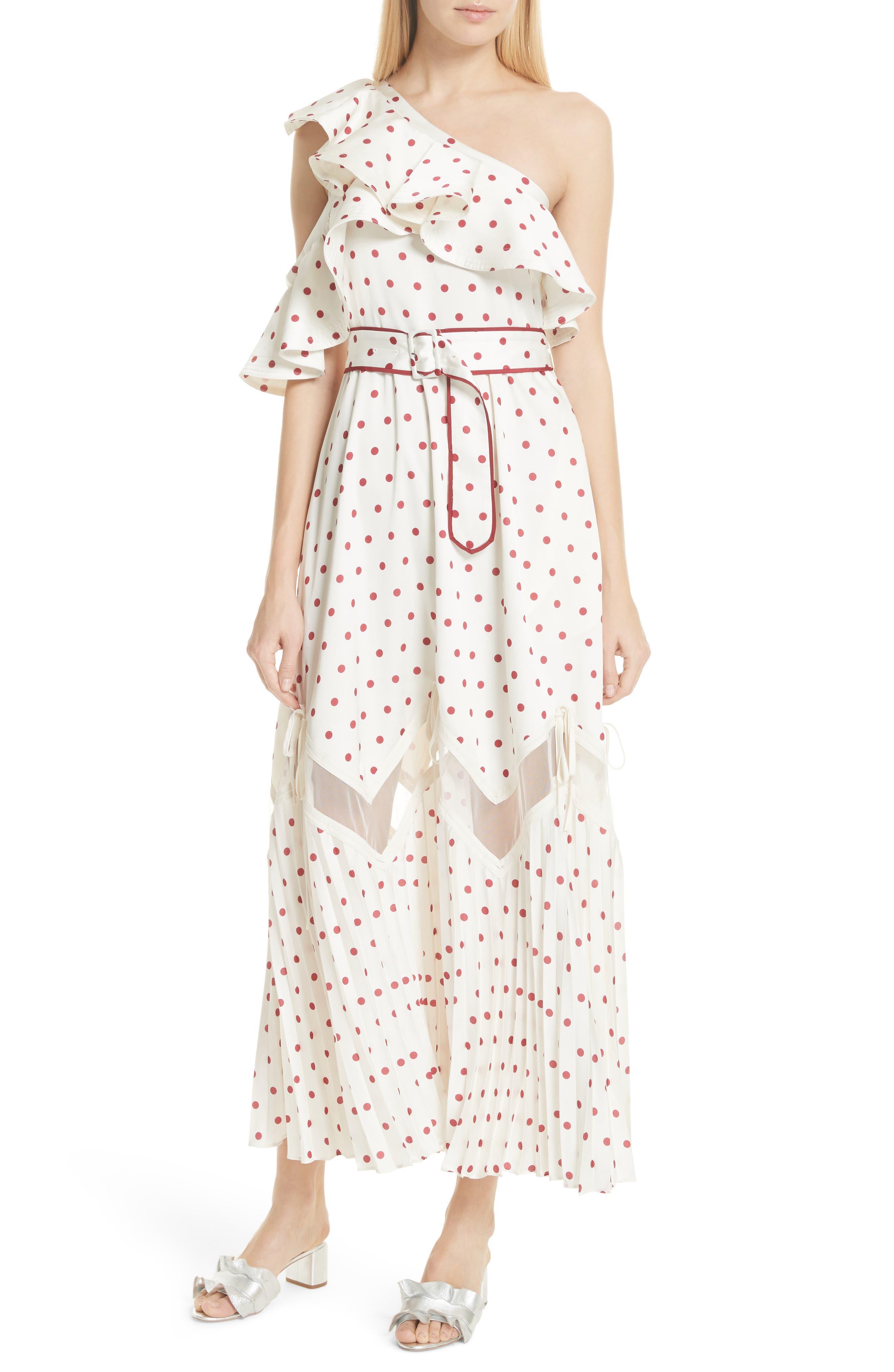 Self-Portrait Polka Dot Ruffle Satin Dress
