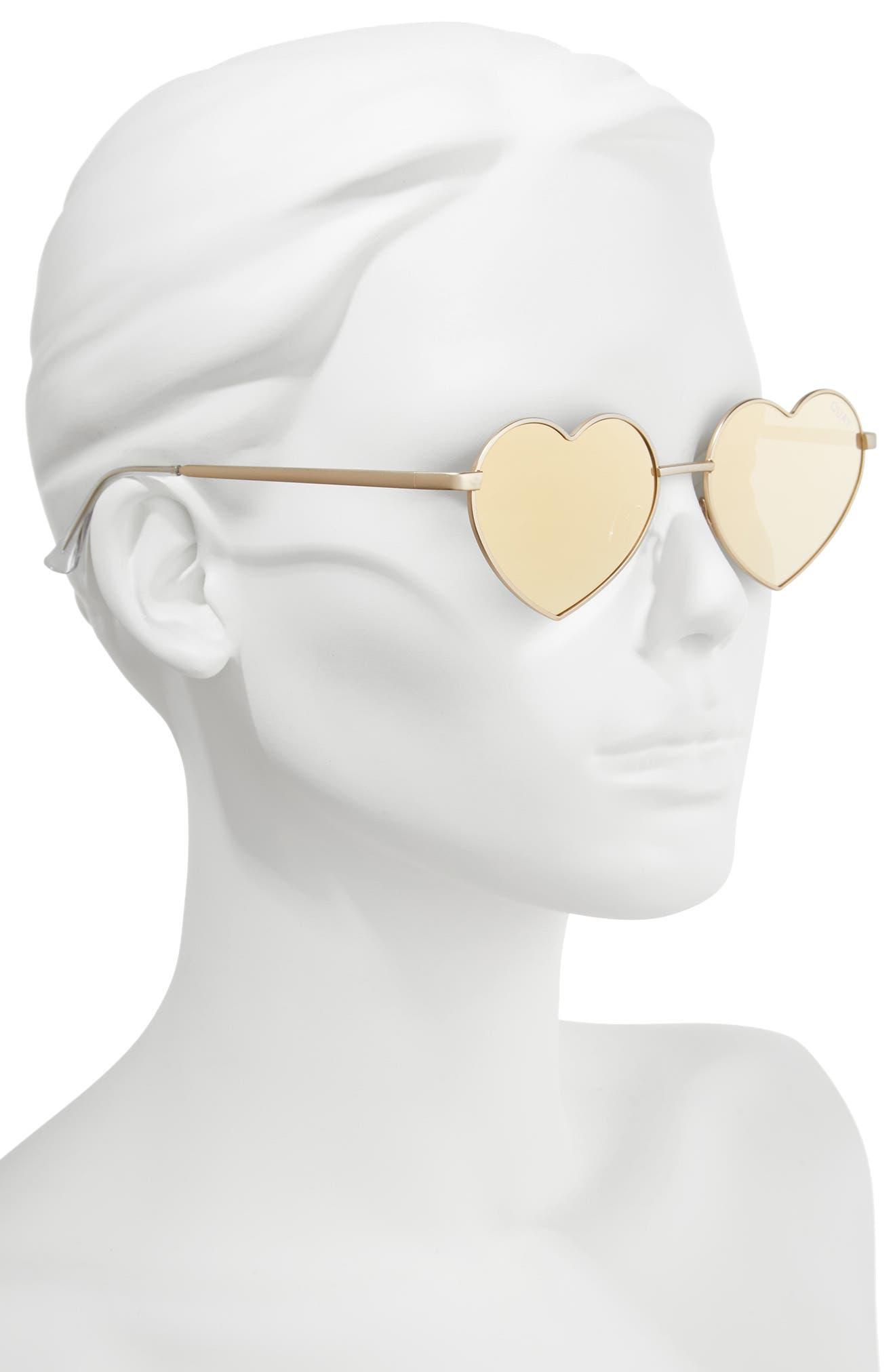 53mm Heart Breaker Heart-Shaped Sunglasses,                             Alternate thumbnail 4, color,                             Gold/ Gold