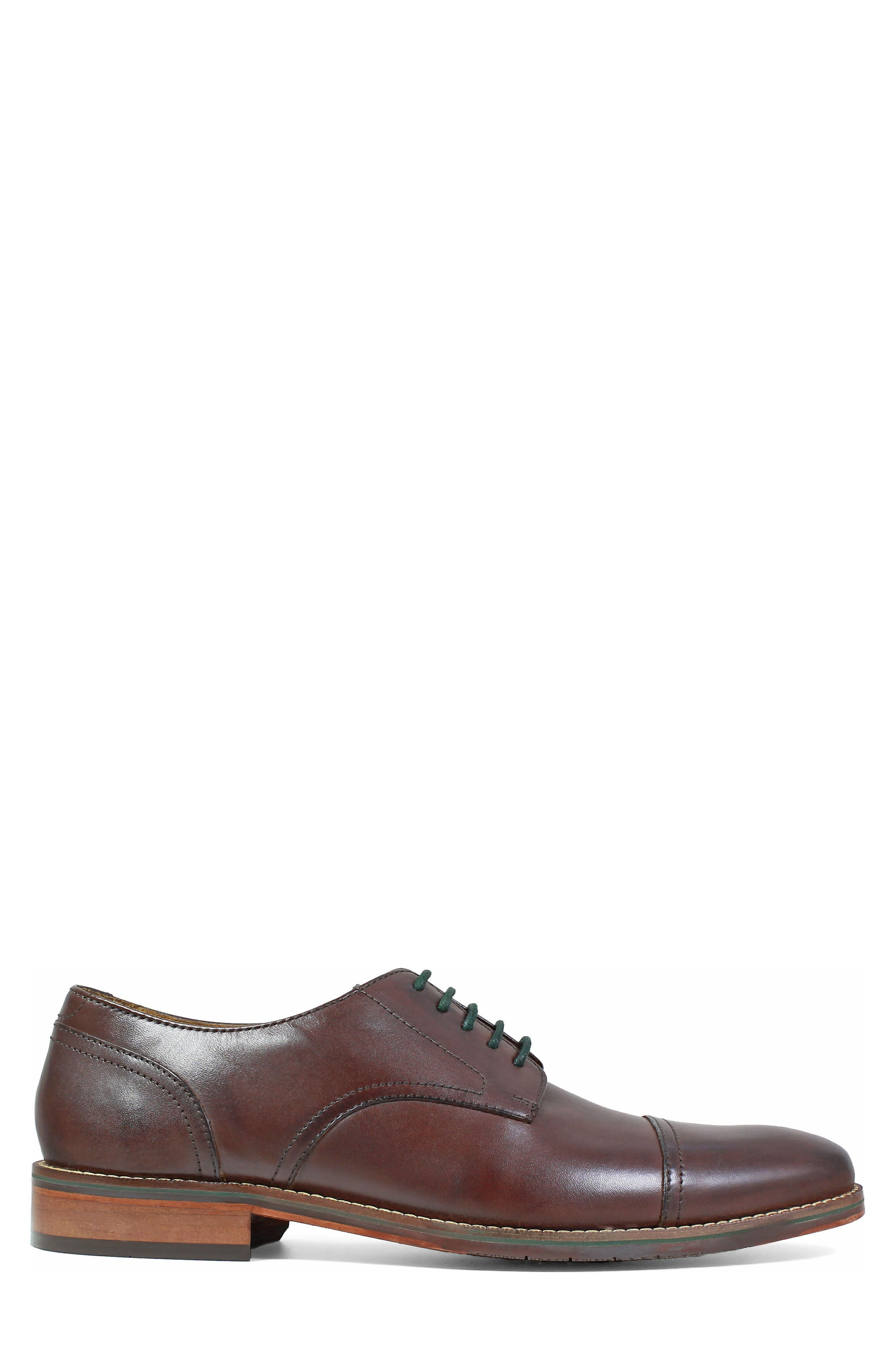Salerno Cap Toe Derby,                             Alternate thumbnail 3, color,                             Brown Leather