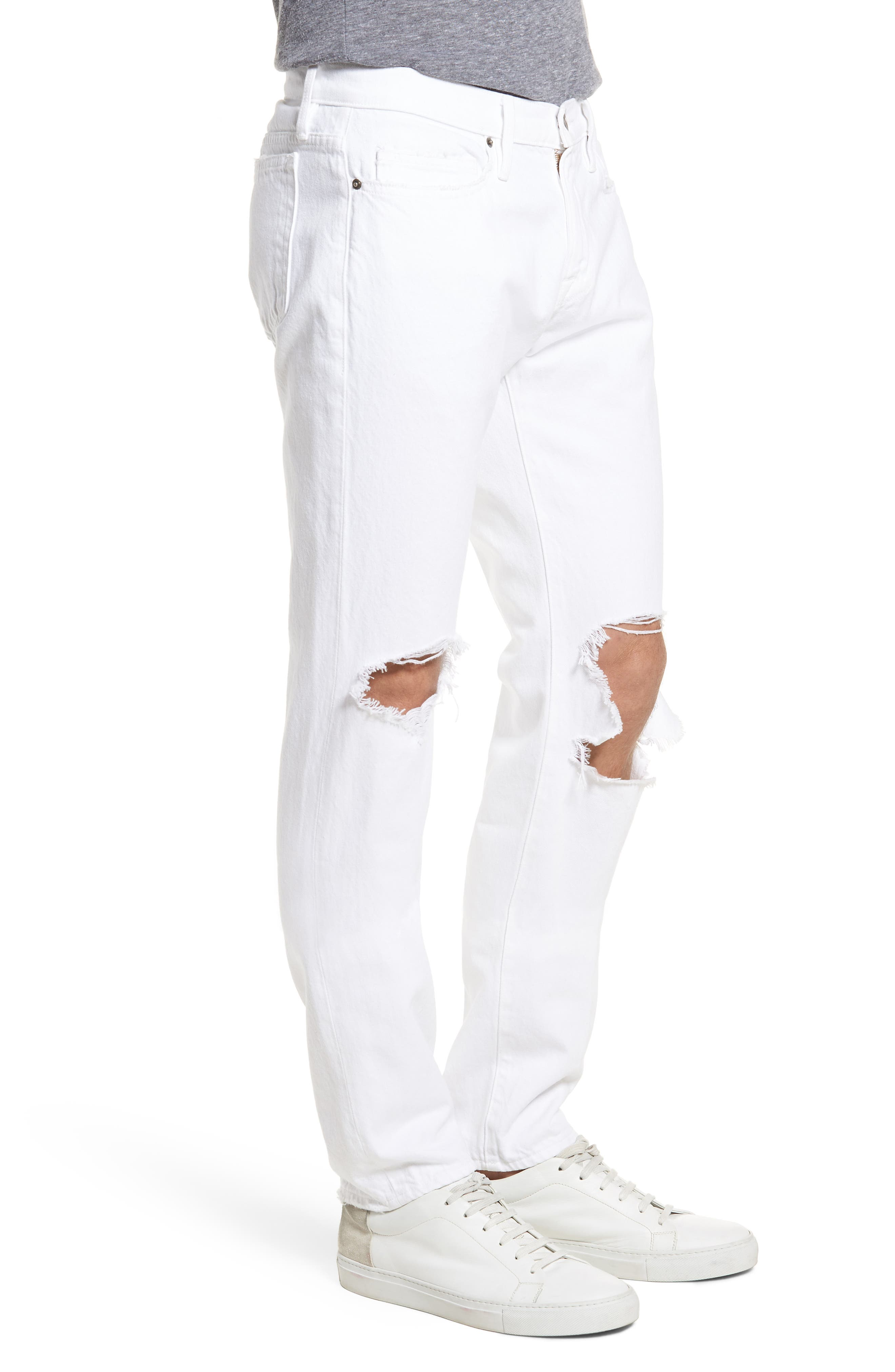 L'Homme Skinny Fit Jeans,                             Alternate thumbnail 3, color,                             White Out