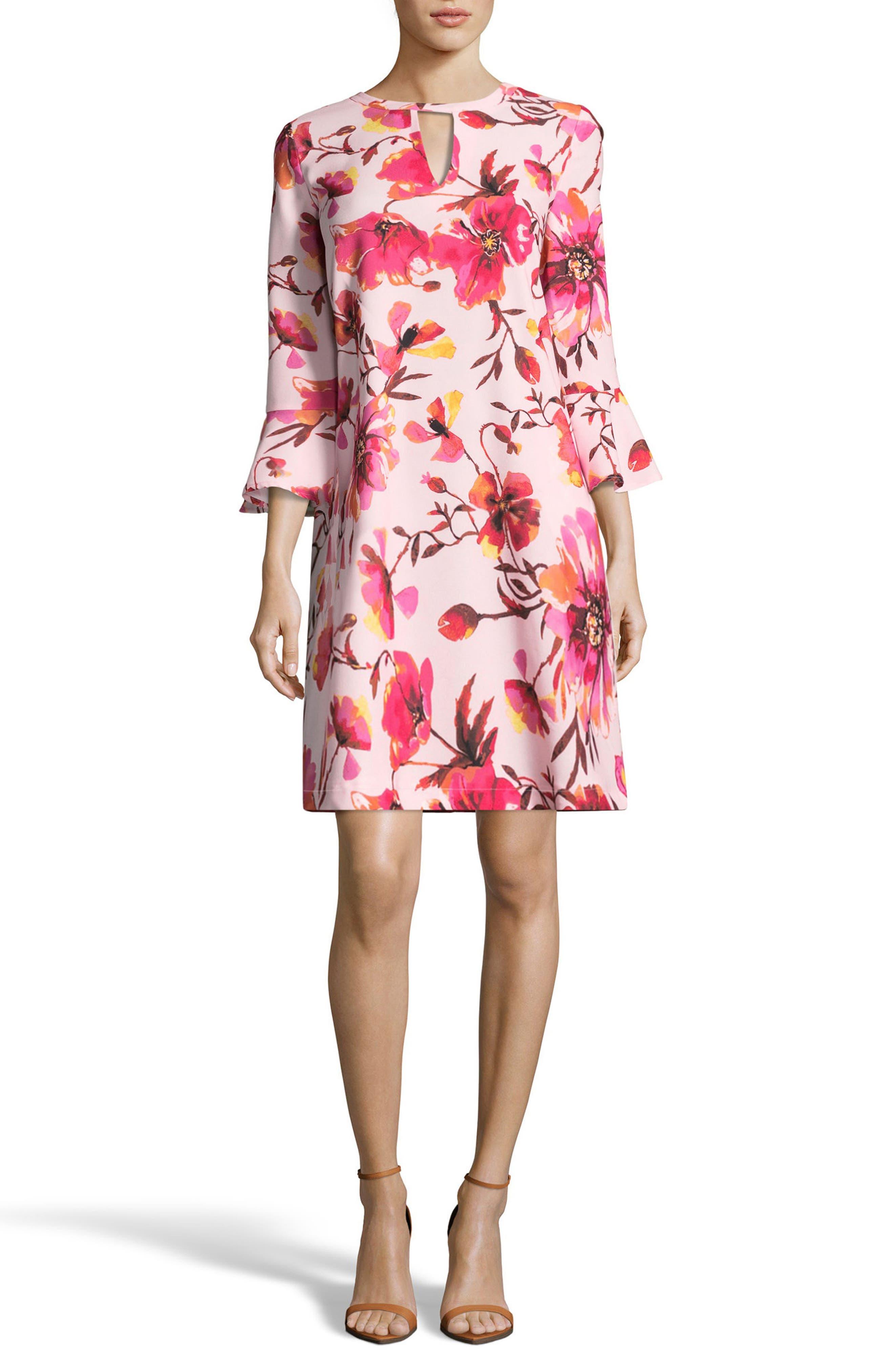 Print Trapeze Dress,                         Main,                         color, Pink/ Orange