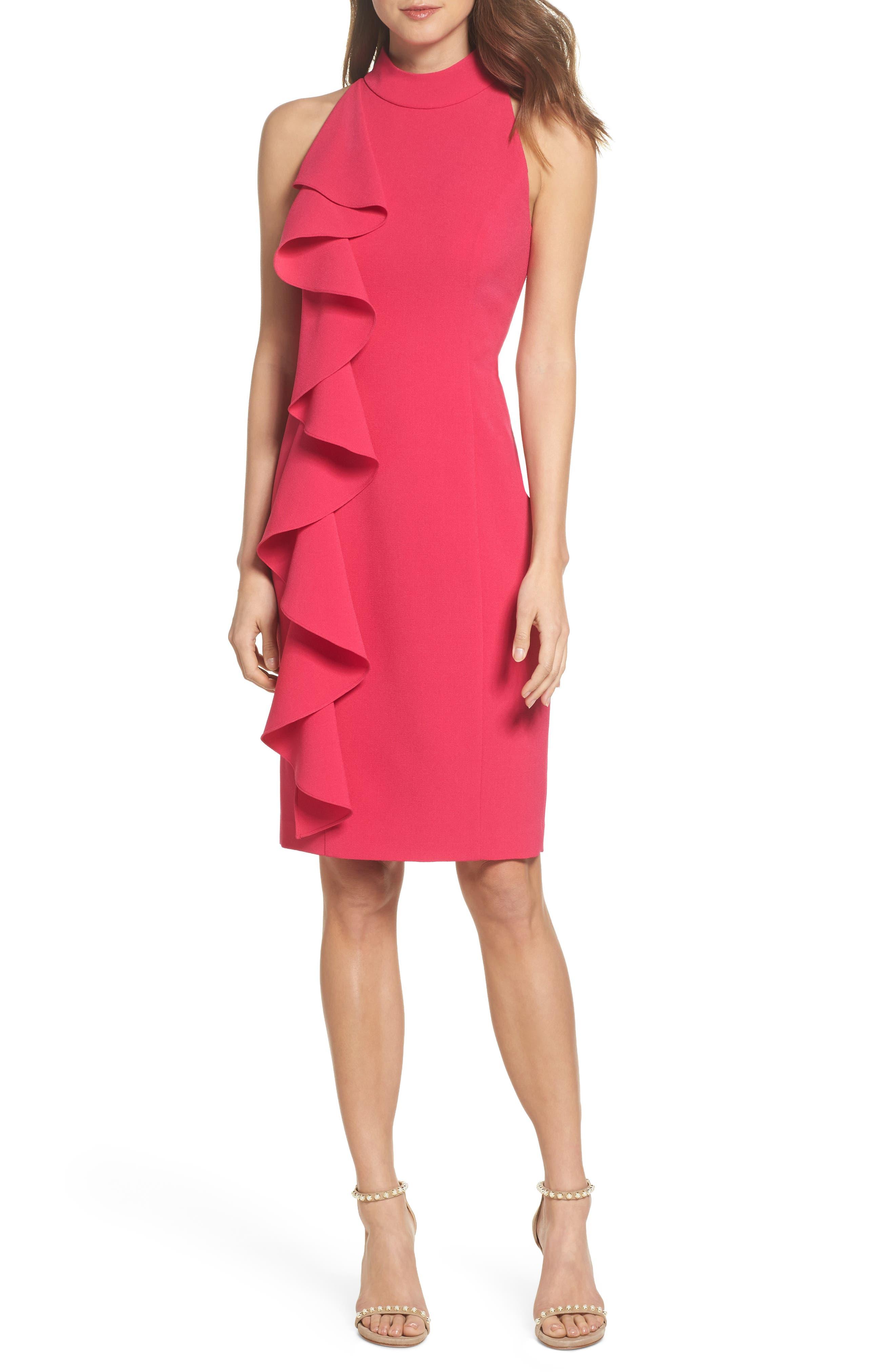 Ruffle Sheath Dress,                         Main,                         color, Fuchsia