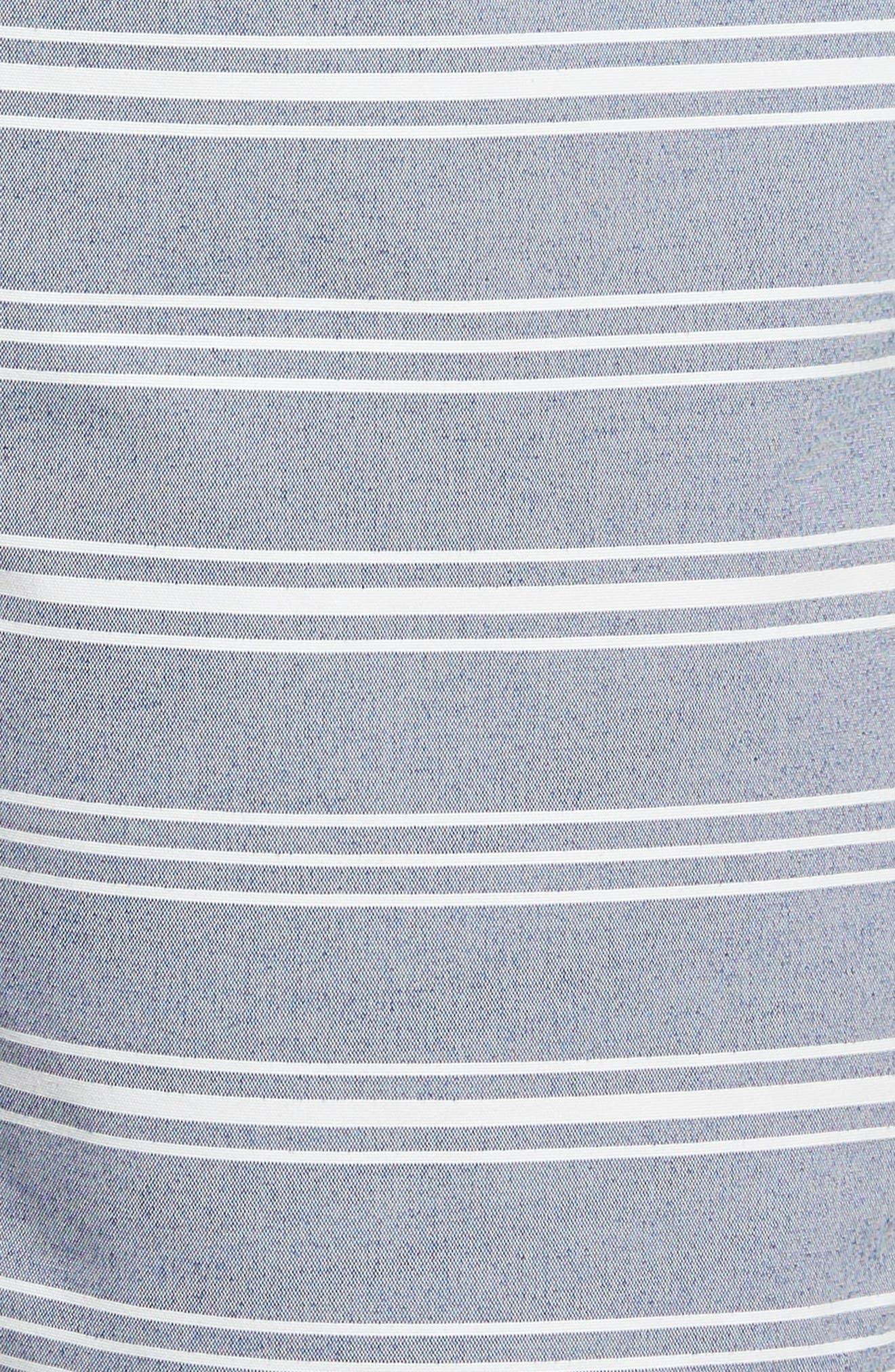 E-Waist 9-Inch Swim Trunks,                             Alternate thumbnail 5, color,                             Swim Stripe Blue/ White