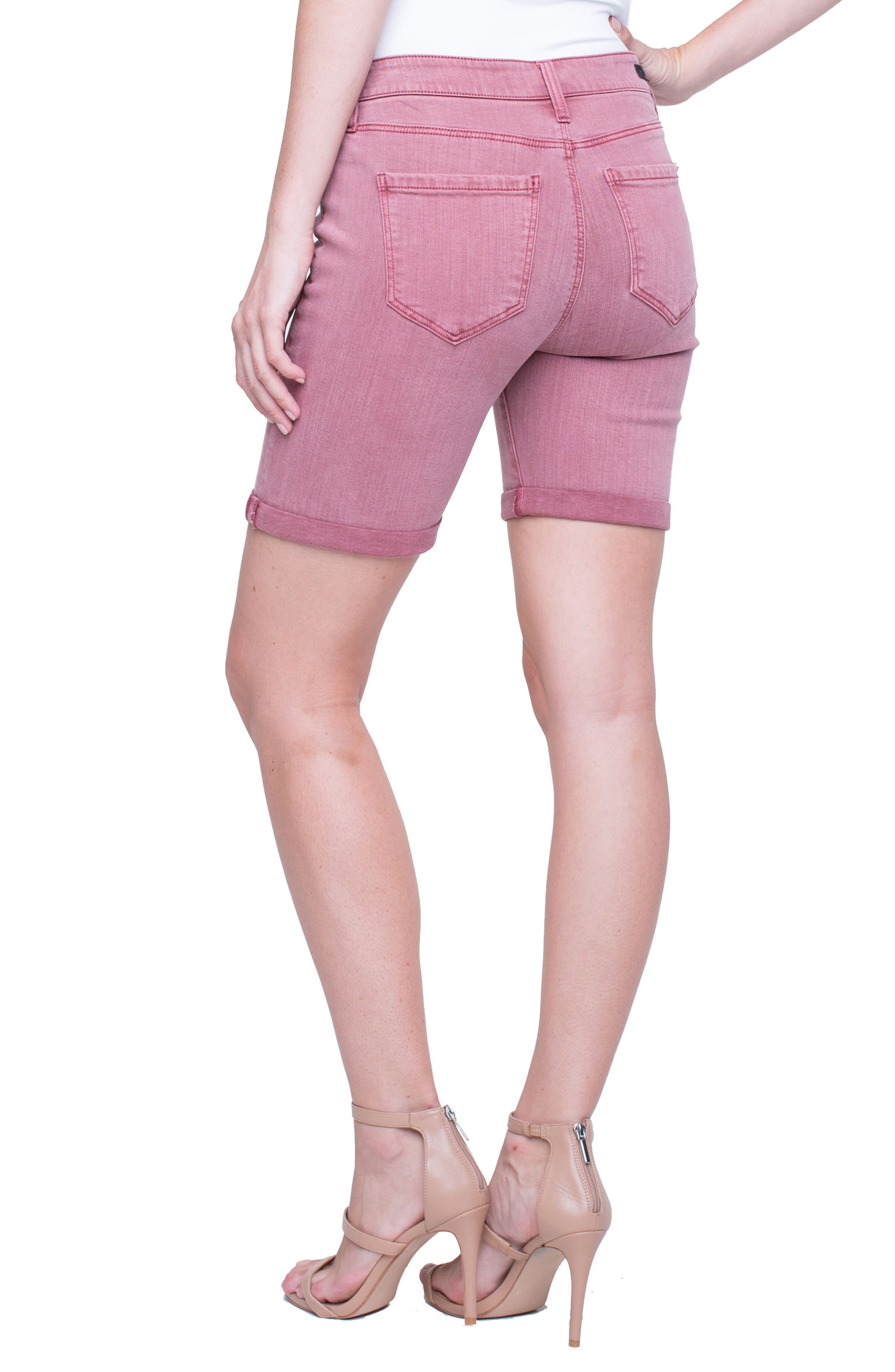 Corine Cuffed Denim Shorts,                             Alternate thumbnail 2, color,                             Roan Rouge