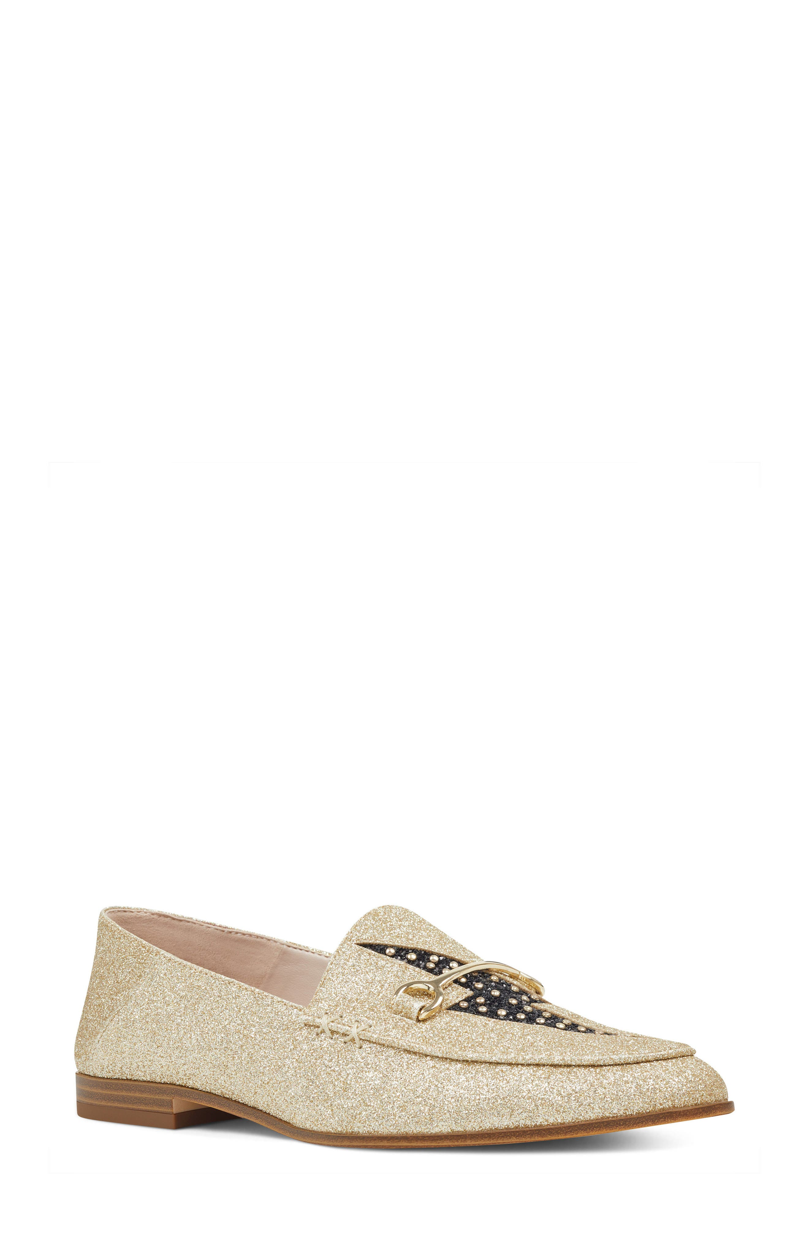 Wildgirls Embellished Loafer,                         Main,                         color, Light Gold/ Black Fabric