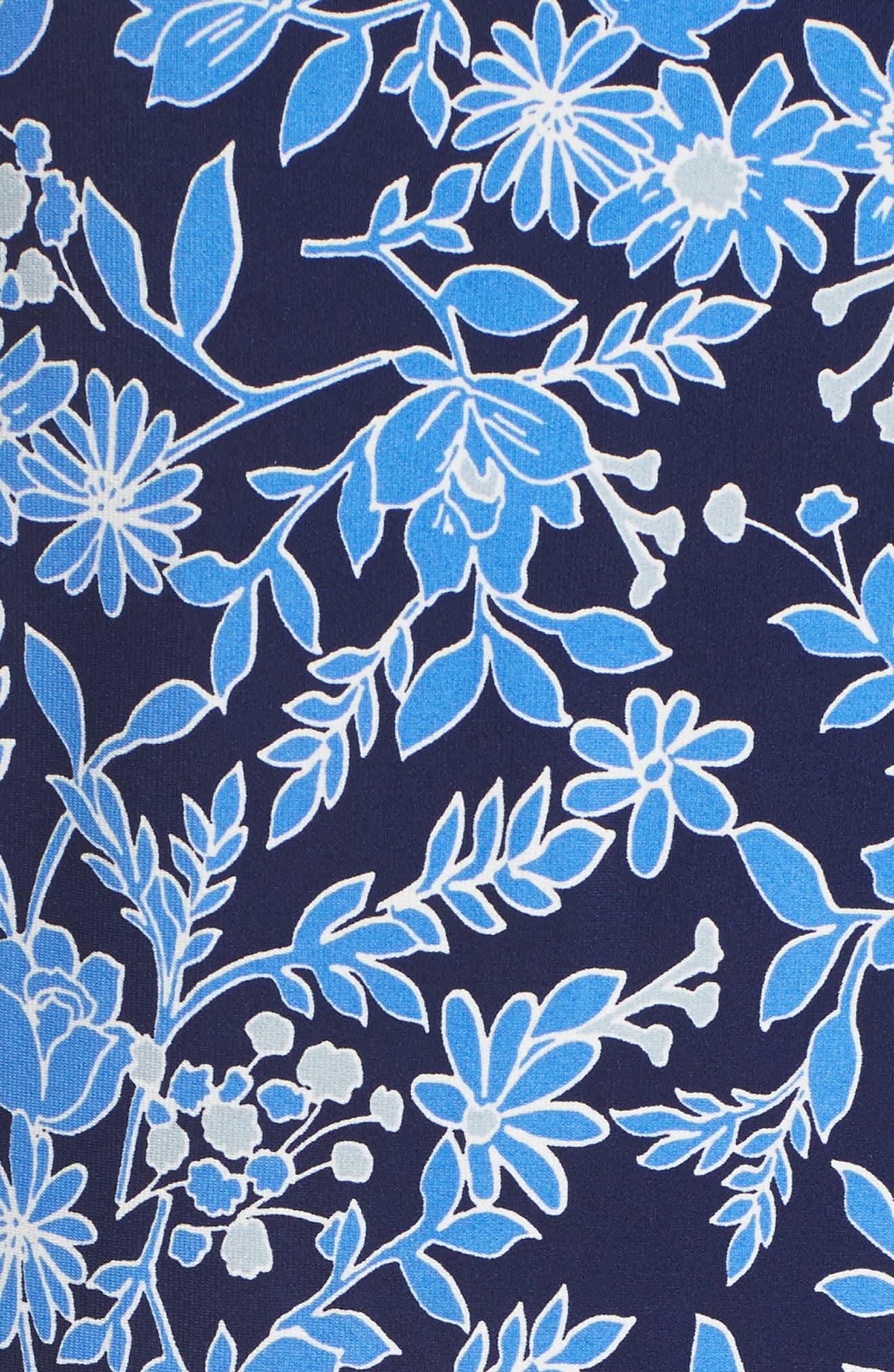 Print Shift Dress,                             Alternate thumbnail 5, color,                             Blue/ Ivory