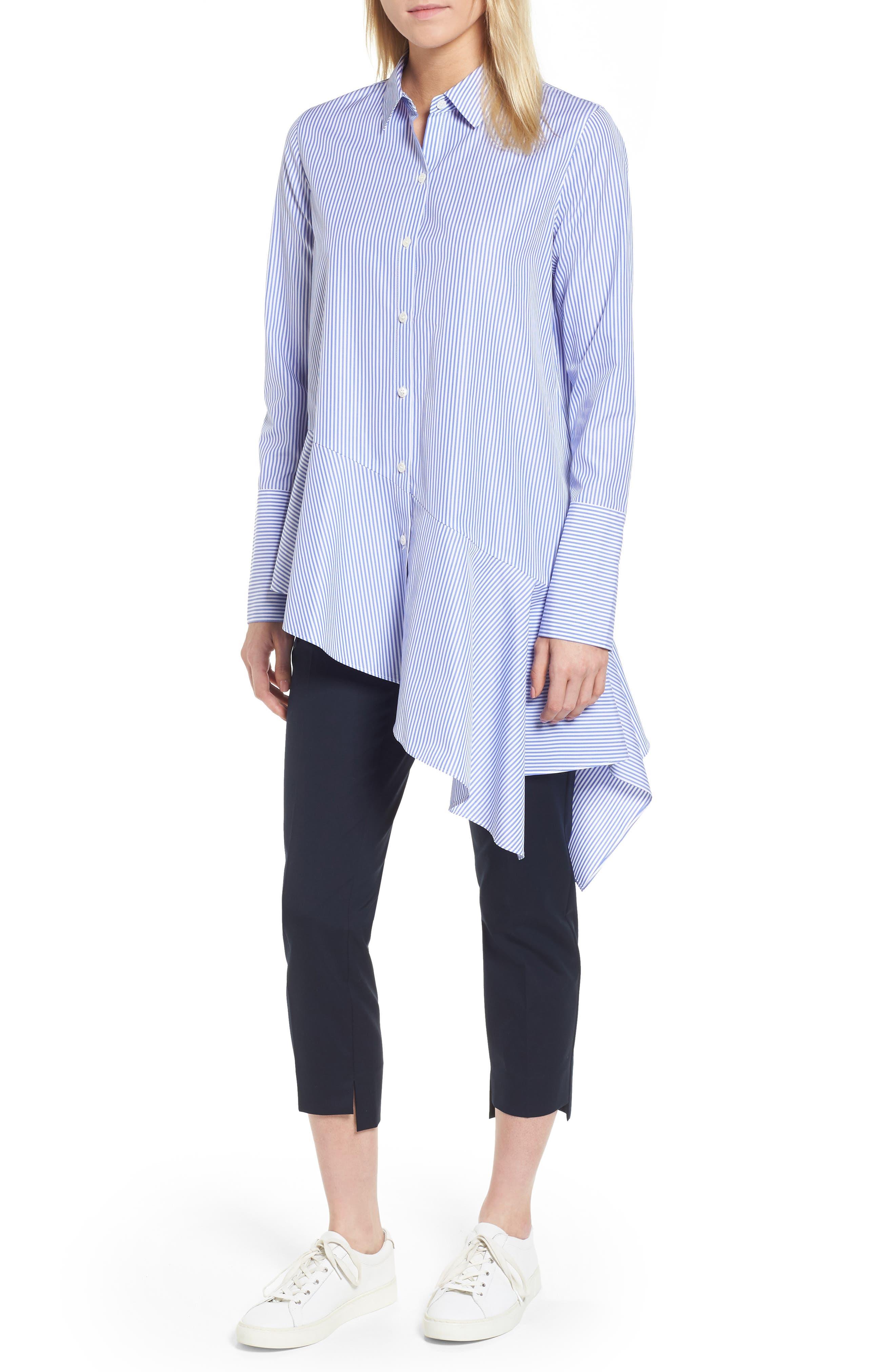 Asymmetrical Stripe Shirt,                             Alternate thumbnail 5, color,                             Blue Denim Stripe