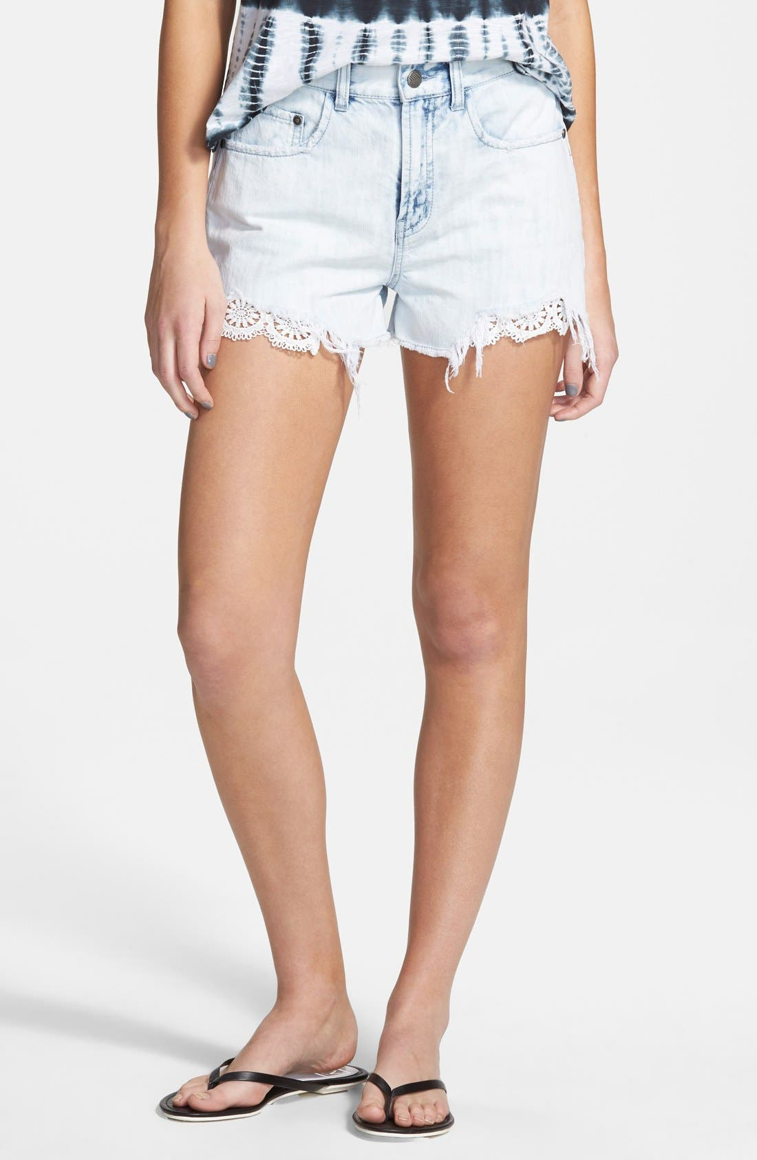 Main Image - Sun & Shadow 'Pretty Pocket' Lace Trim High Waist Denim Cutoff Shorts (Juniors)