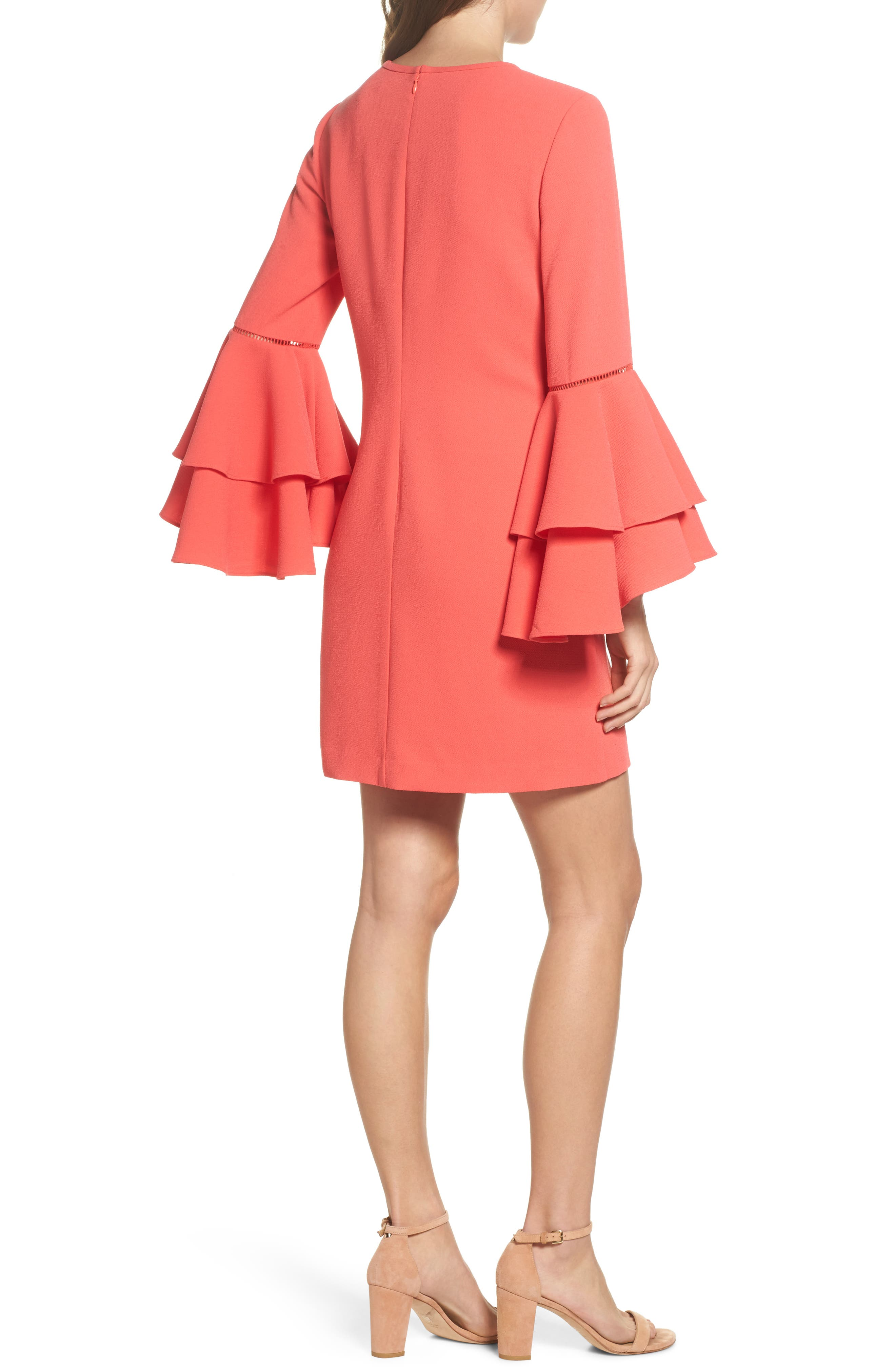 Tiered Bell Sleeve Shift Dress,                             Alternate thumbnail 2, color,                             Red Hibiscus