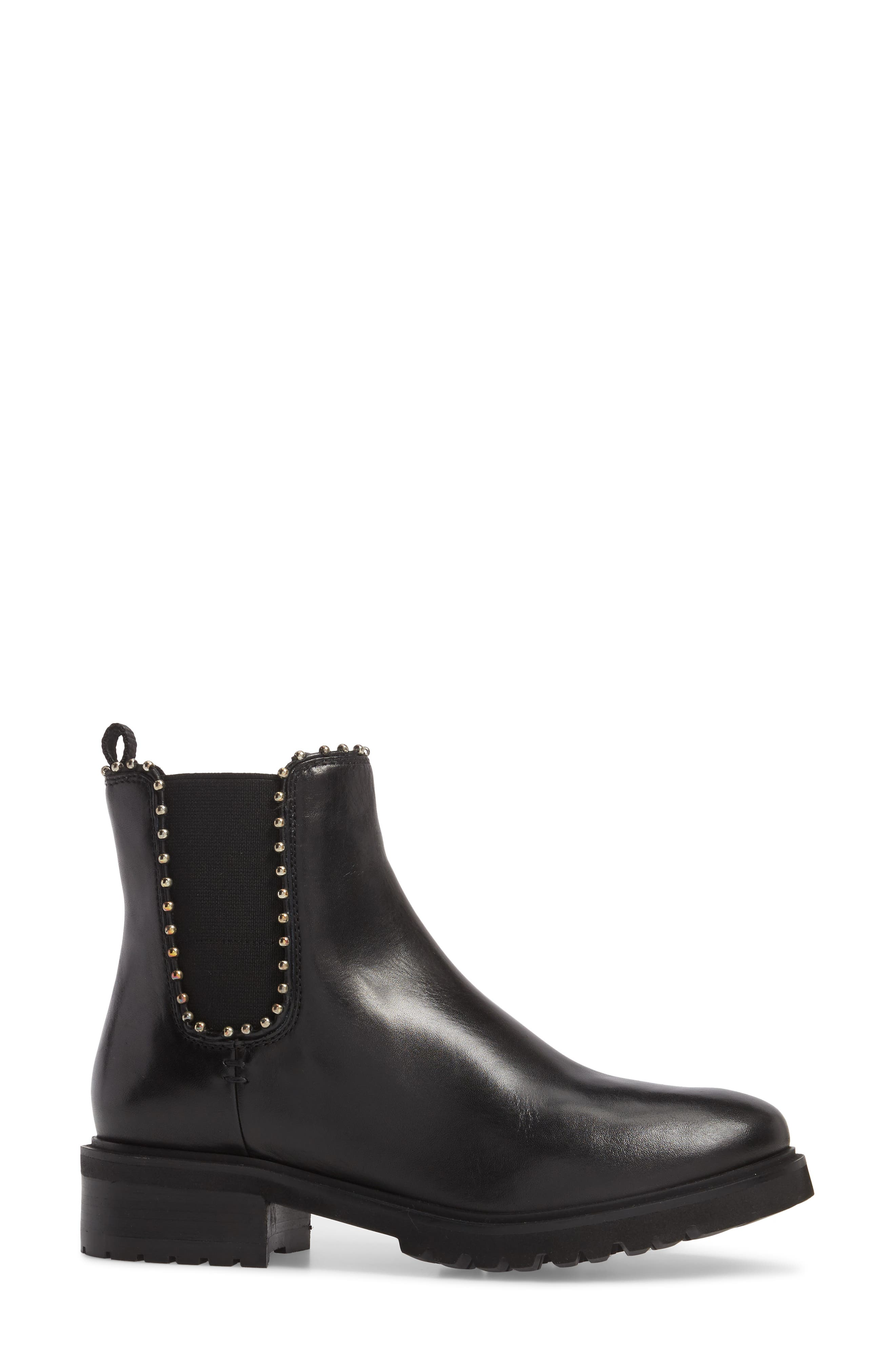 Berkley Chelsea Bootie,                             Alternate thumbnail 3, color,                             Black Leather