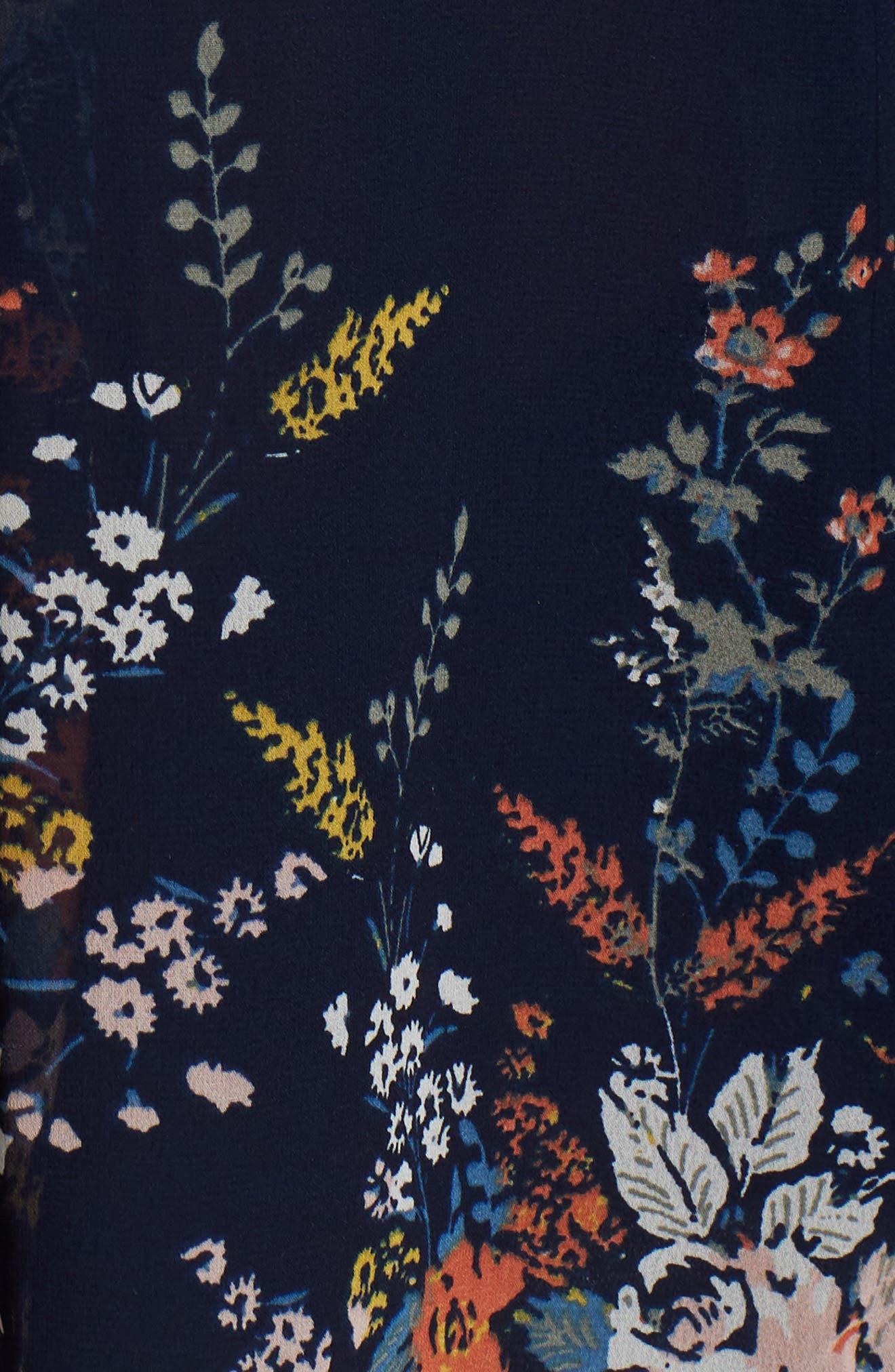 Cold Shoulder Floral Top,                             Alternate thumbnail 5, color,                             Navy Multi