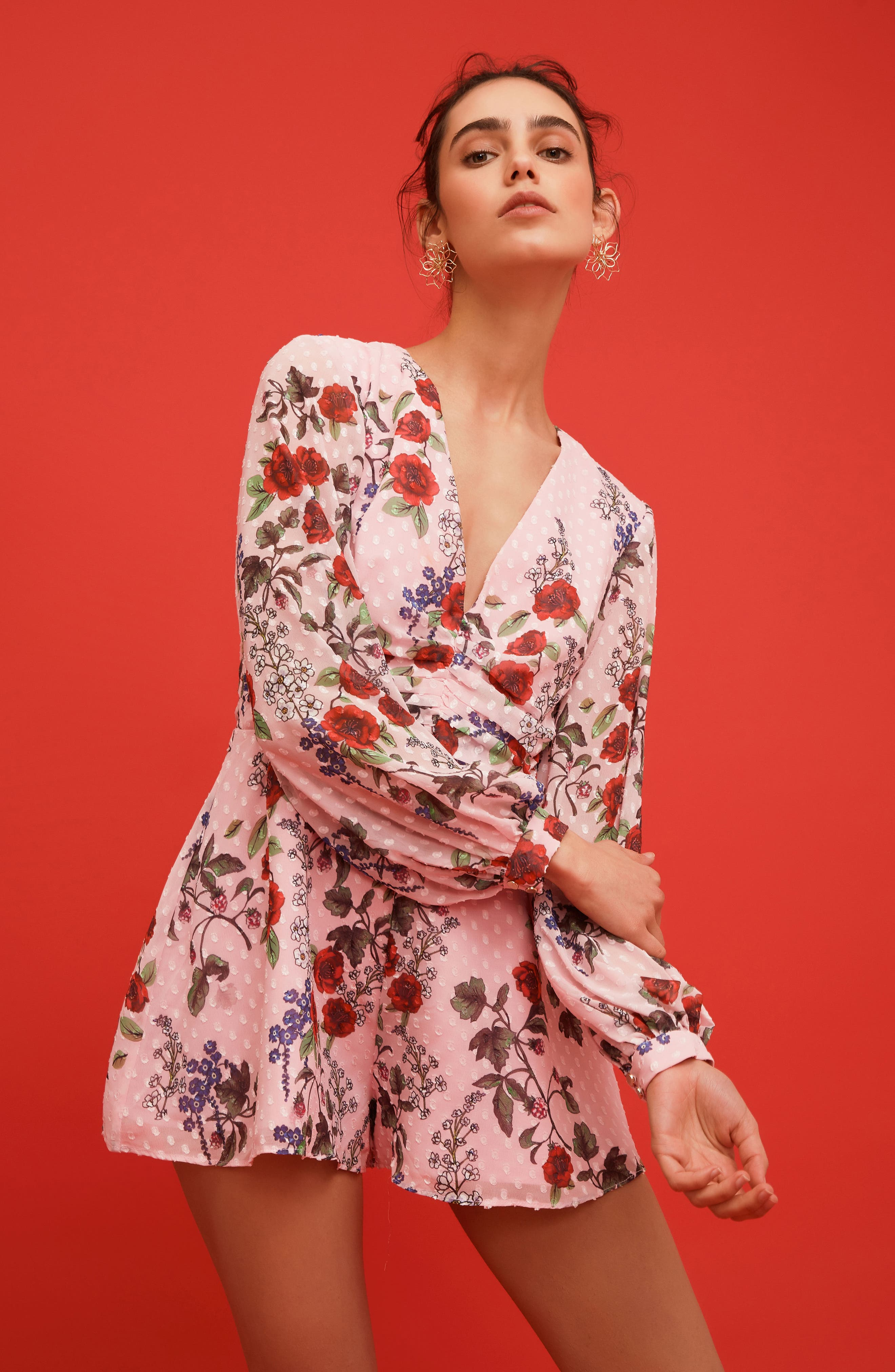 Need You Now Romper,                             Alternate thumbnail 2, color,                             Powder Pink Floral