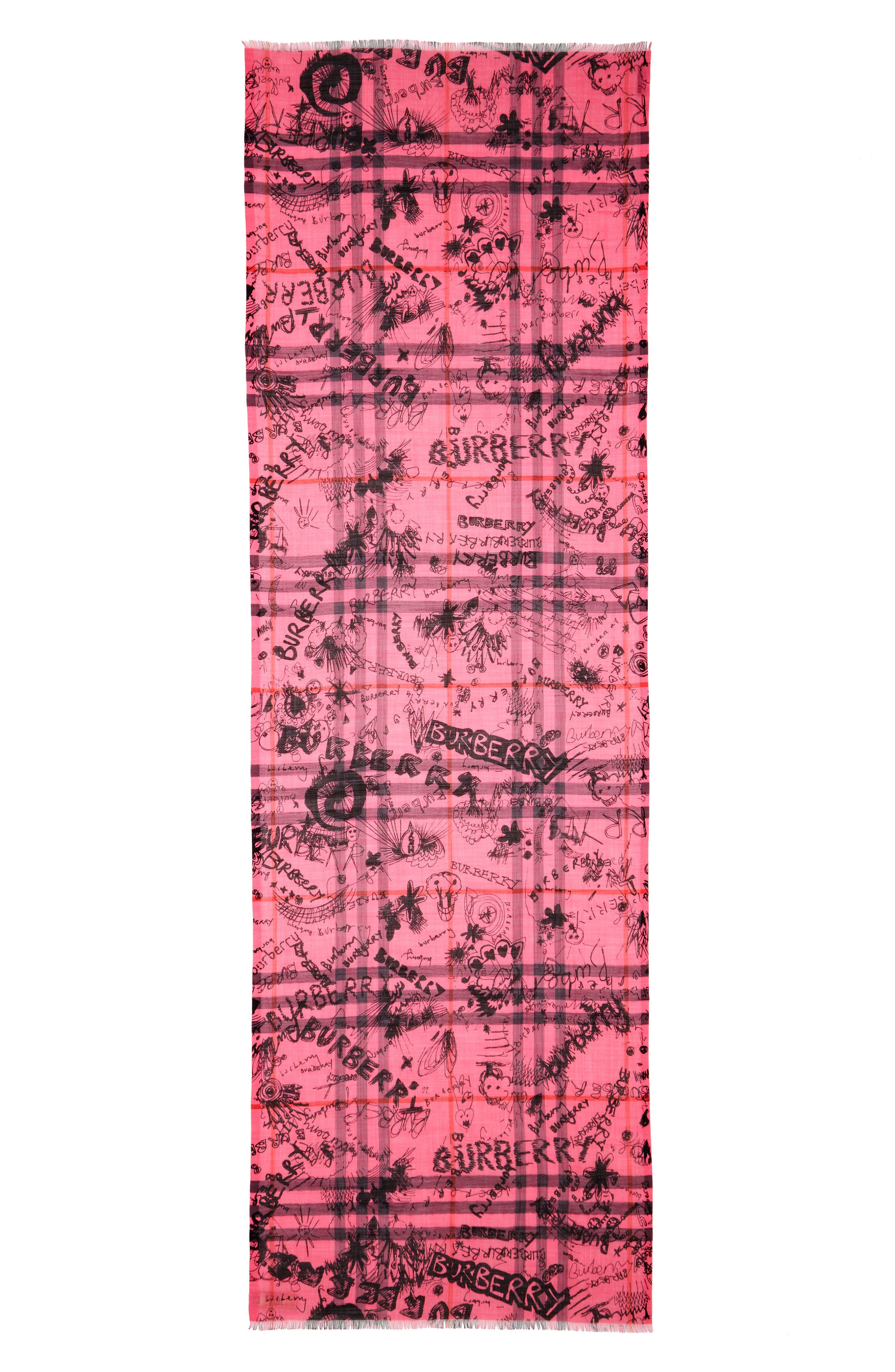 Doodle Print Check Wool & Silk Scarf,                             Alternate thumbnail 2, color,                             Neon Pink