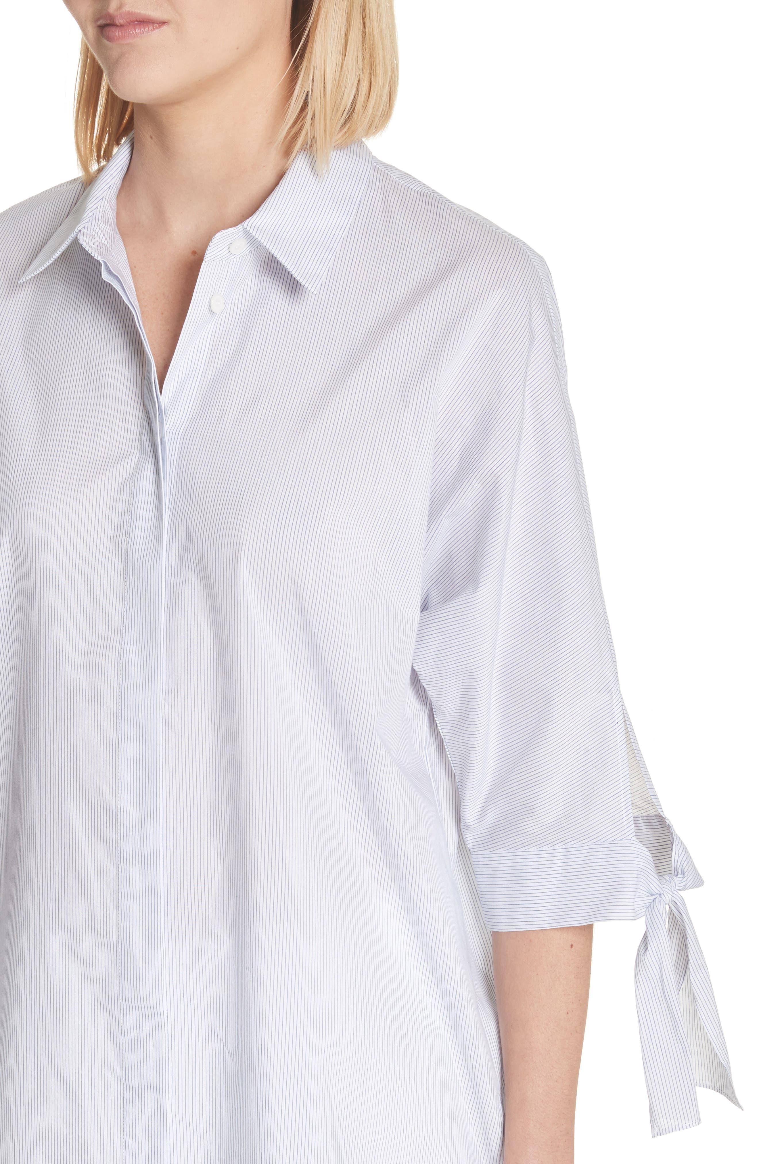 Breezy Stripe Saige Blouse,                             Alternate thumbnail 4, color,                             White Multi