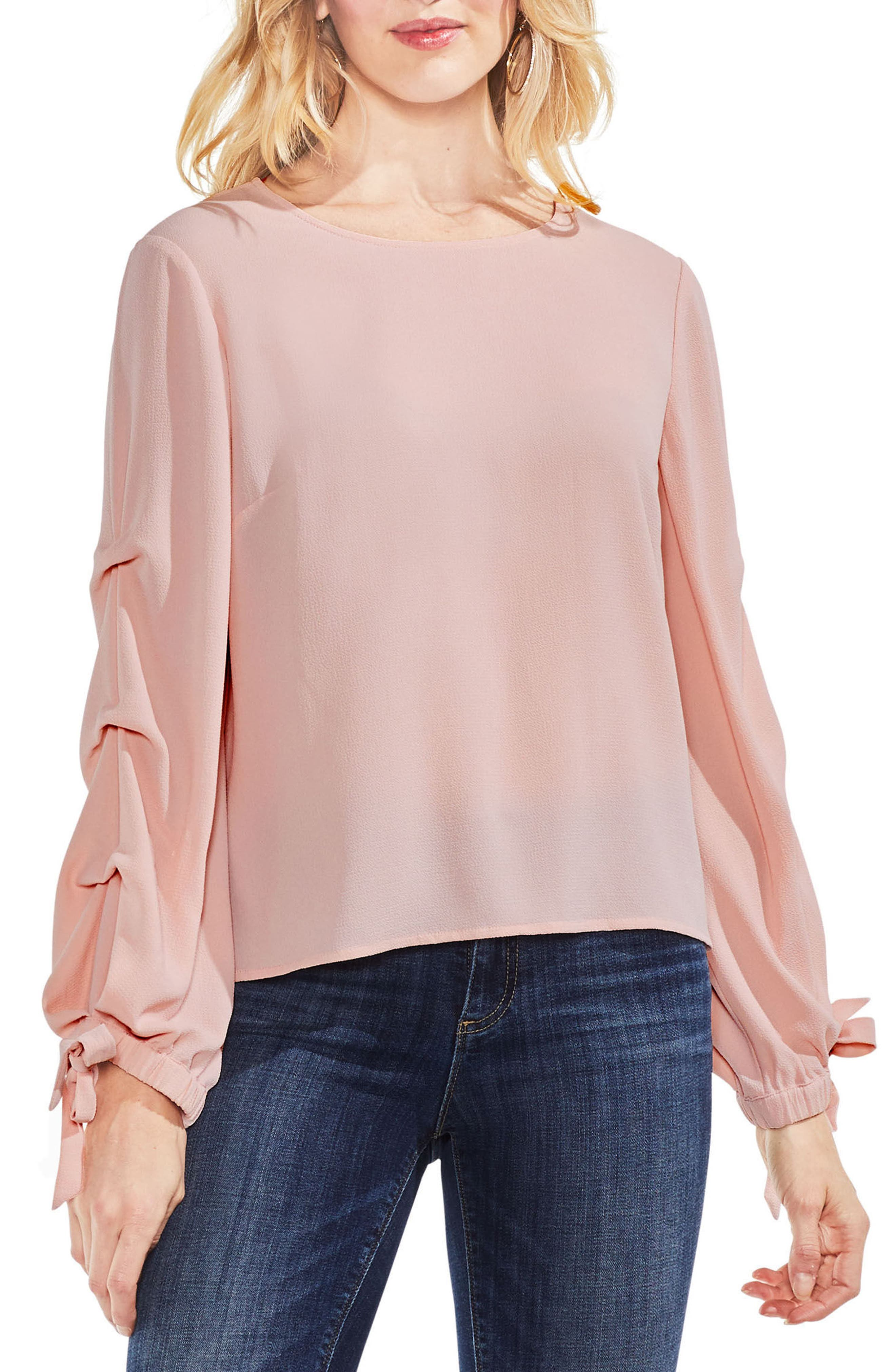Tiered Tie Cuff Crepe Blouse,                             Main thumbnail 1, color,                             Wild Rose