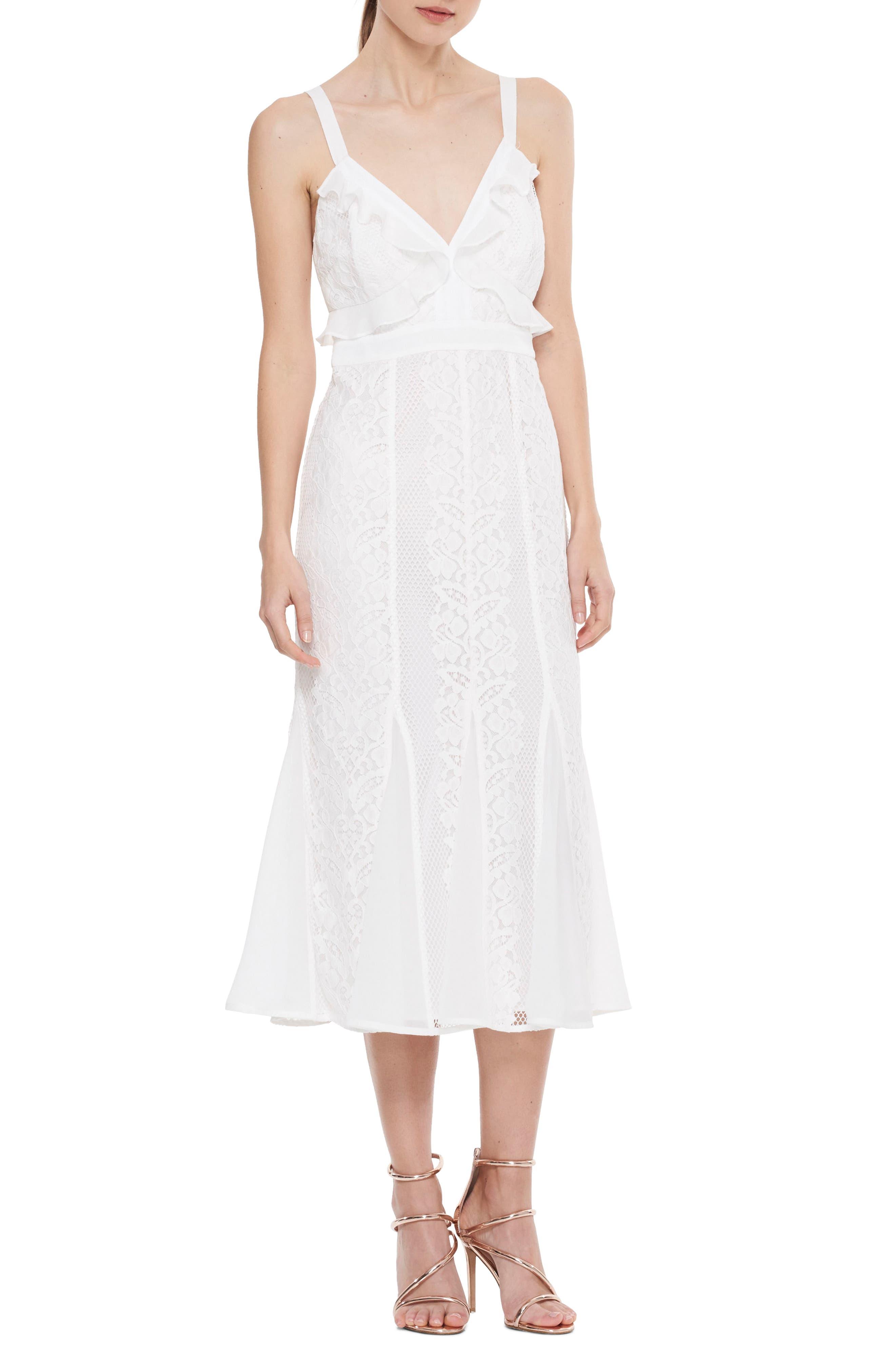 Adoring Ruffle Lace Midi Dress,                             Main thumbnail 1, color,                             White