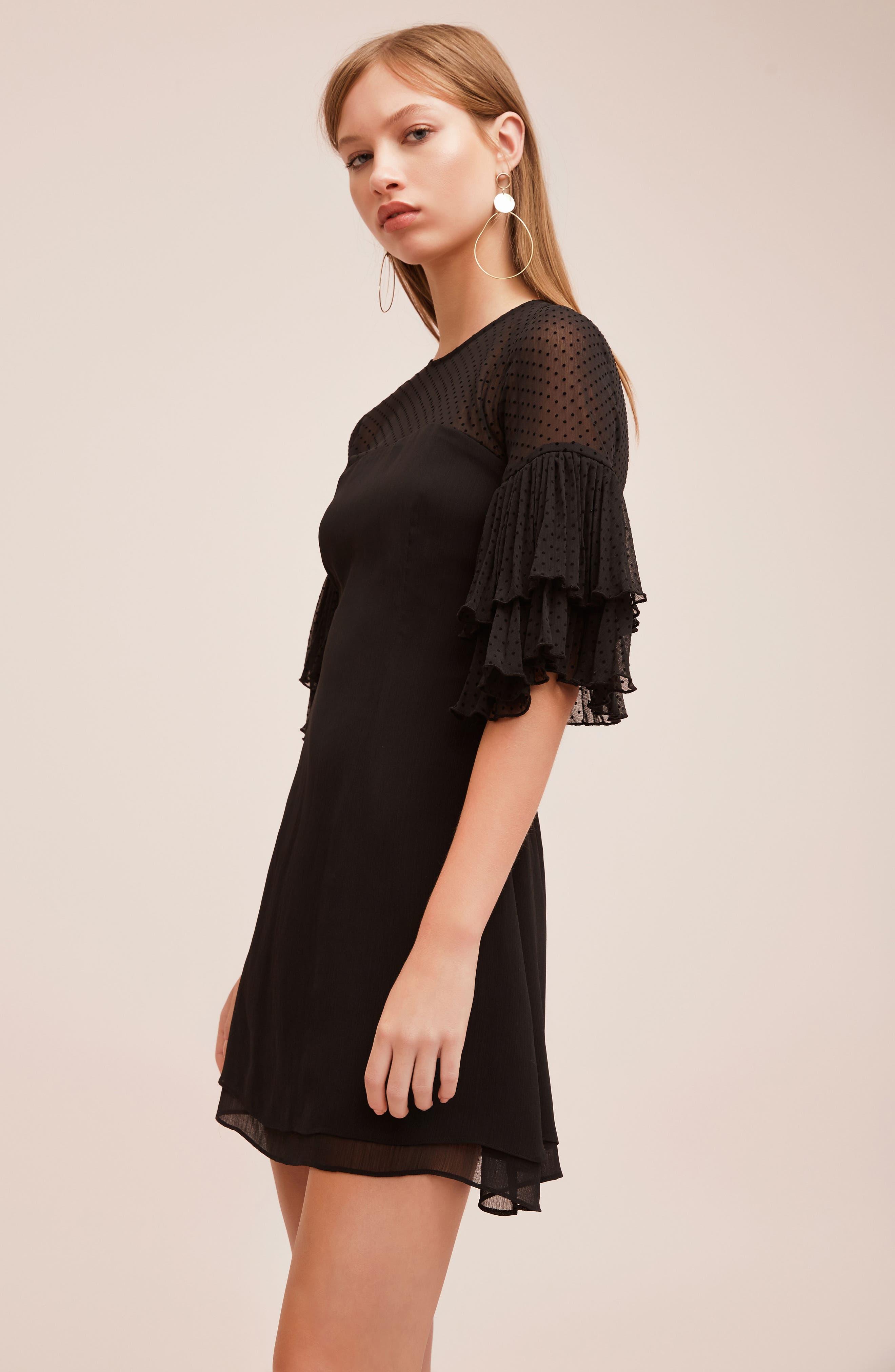 Horizons Bell Sleeve Minidress,                             Alternate thumbnail 2, color,                             Black
