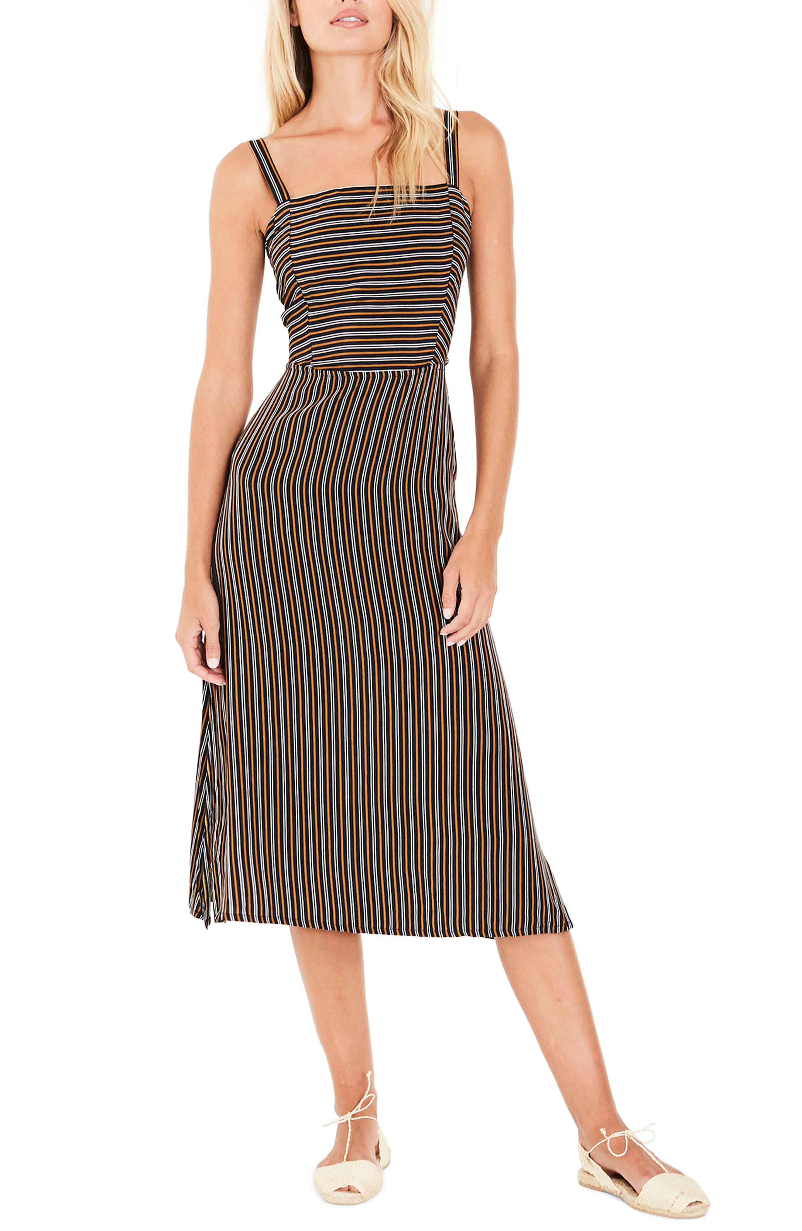 Katergo Stripe Tie Back Midi Dress,                         Main,                         color, Glasgow Stripe Print