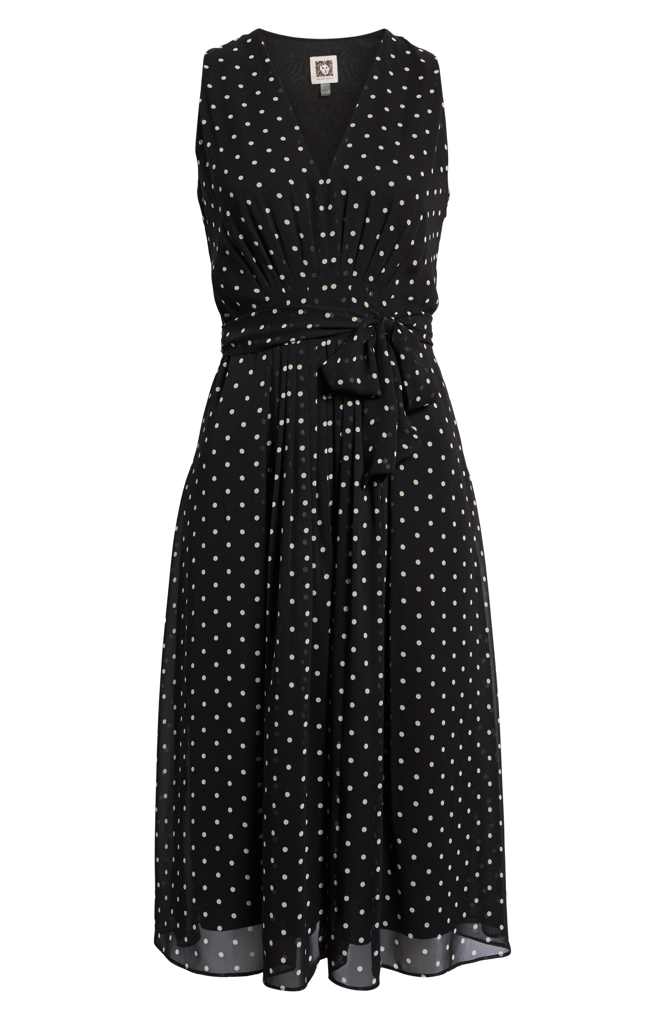 New York Dotted Chiffon Dress,                             Alternate thumbnail 6, color,                             Black/ White
