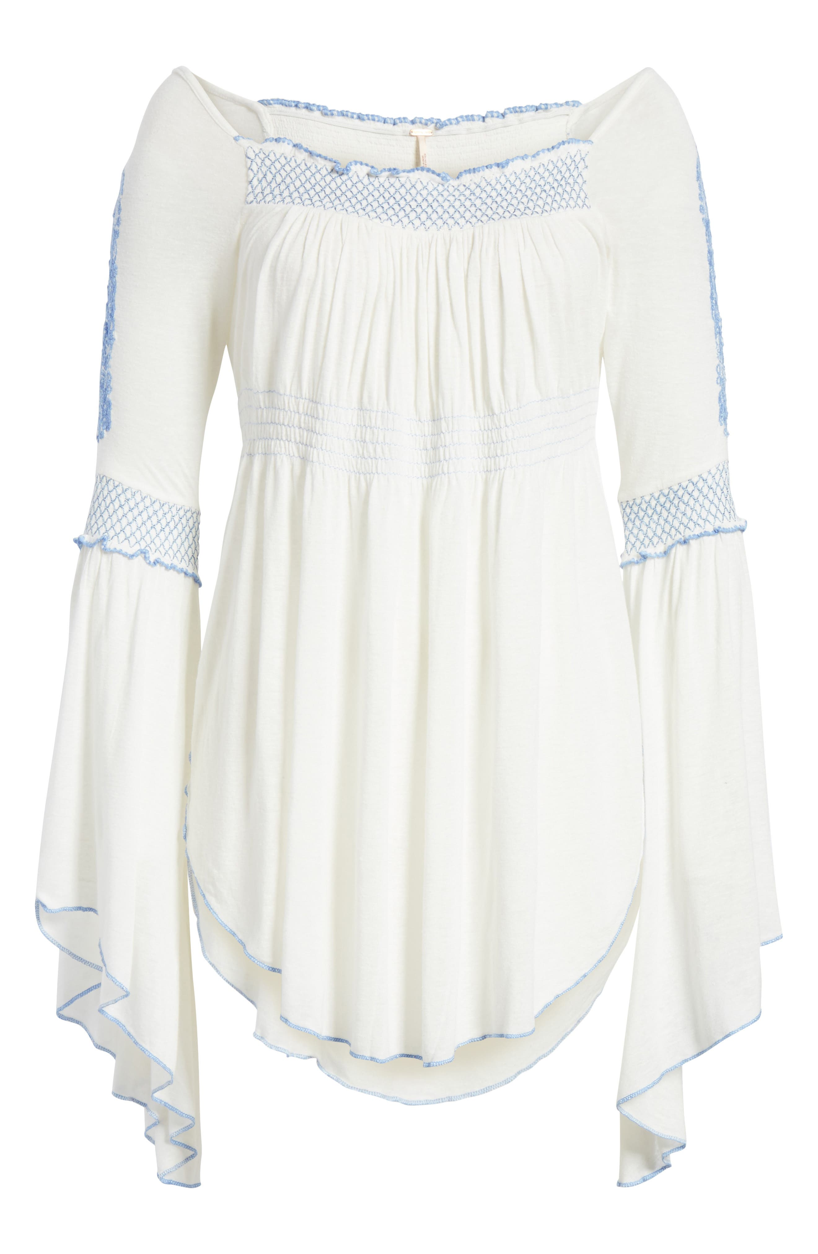 Valley Embroidered Bell Sleeve Top,                             Alternate thumbnail 6, color,                             Ivory
