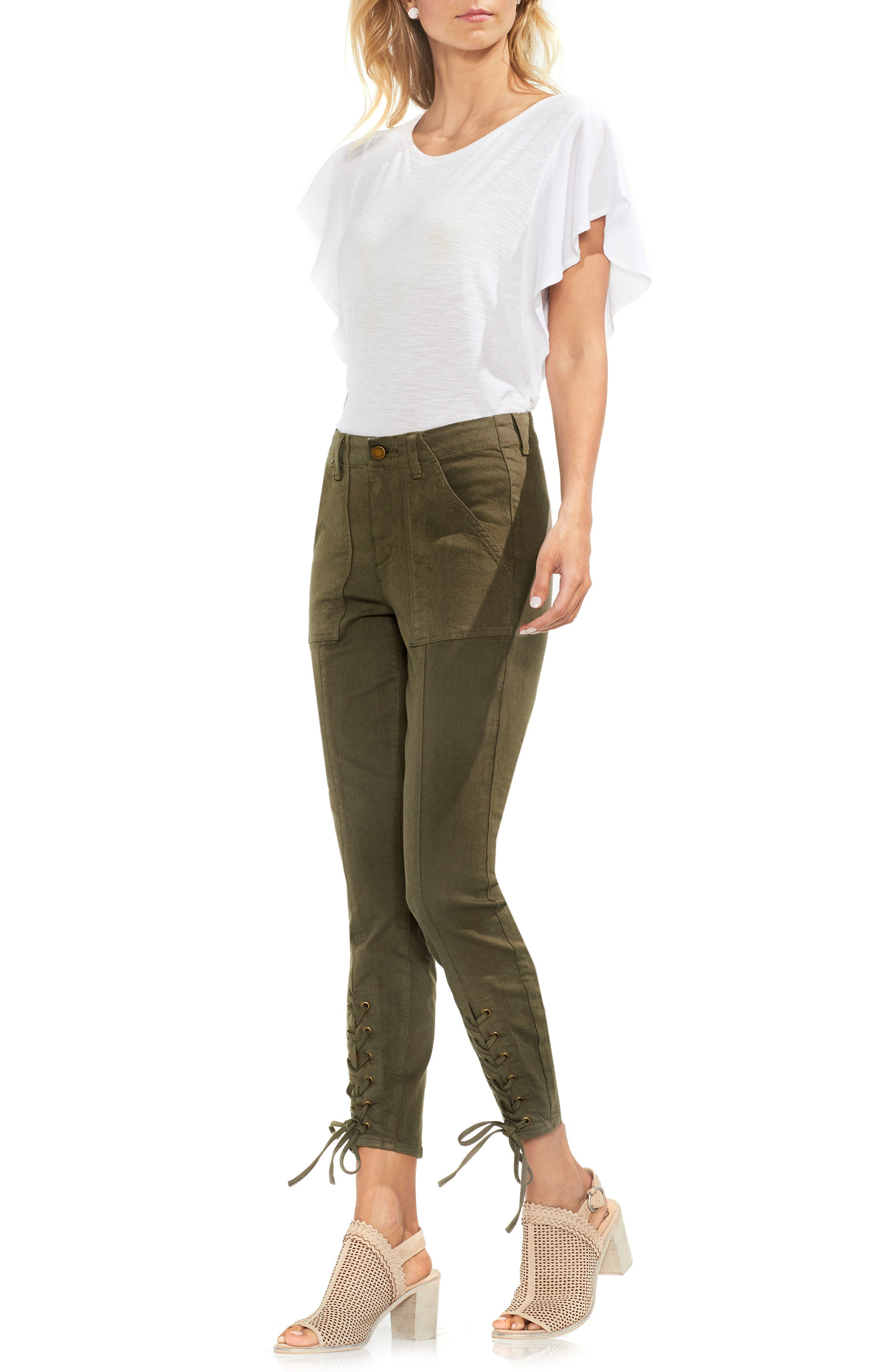 Lace-Up Cuff D-Luxe Pants,                             Alternate thumbnail 4, color,                             Legion Green